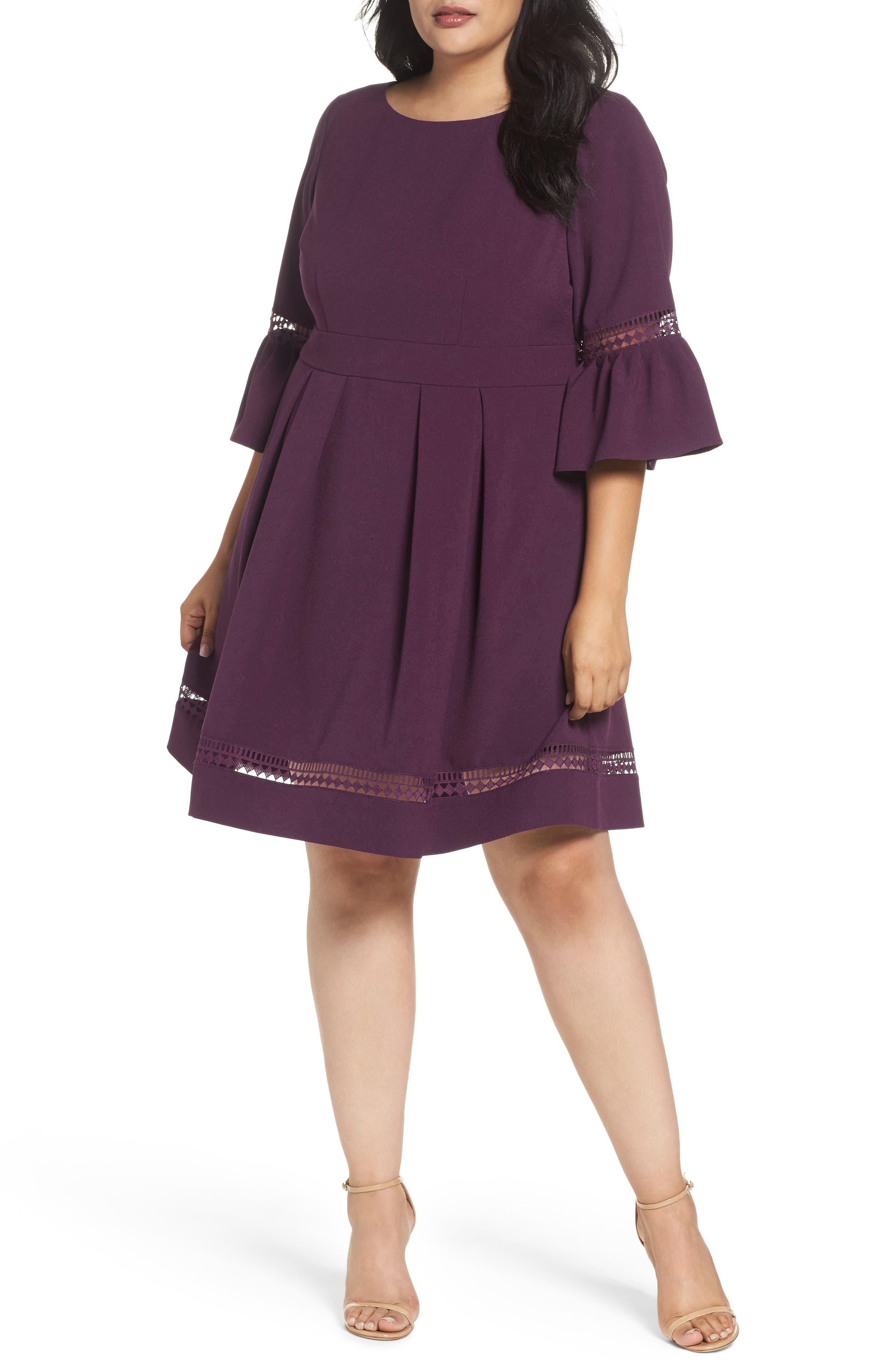 Bell Sleeve Fit & Flare Dress,                         Main,                         color, PURPLE