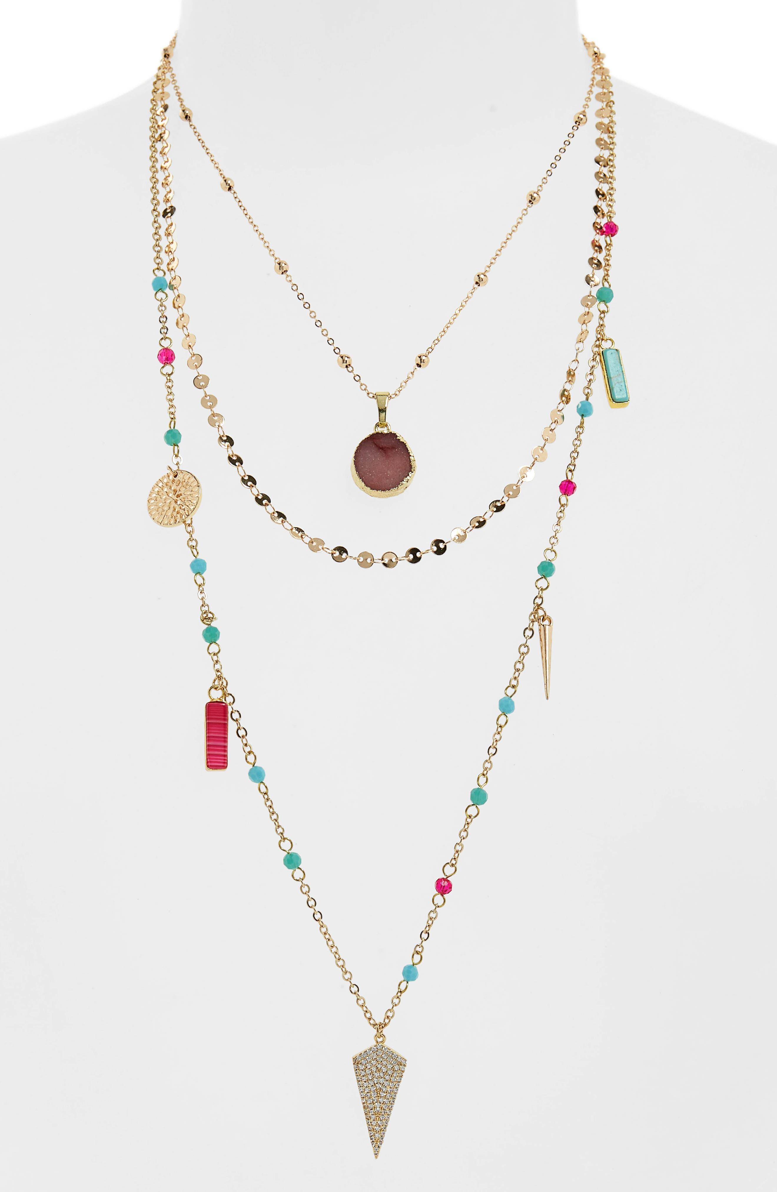 Multi Stone Layered Necklace,                             Alternate thumbnail 2, color,                             MULTI