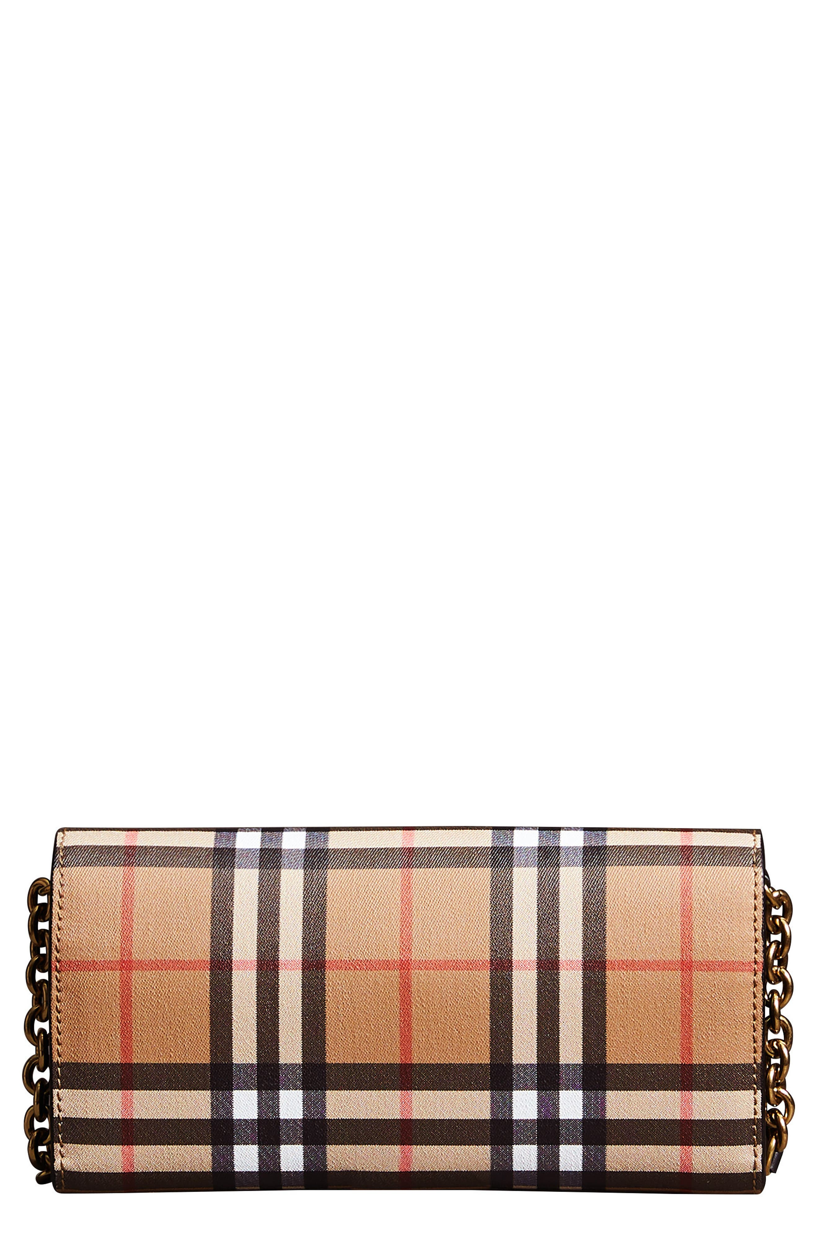 Henley Vintage Check Wallet on a Chain,                         Main,                         color, TAN/ BLACK