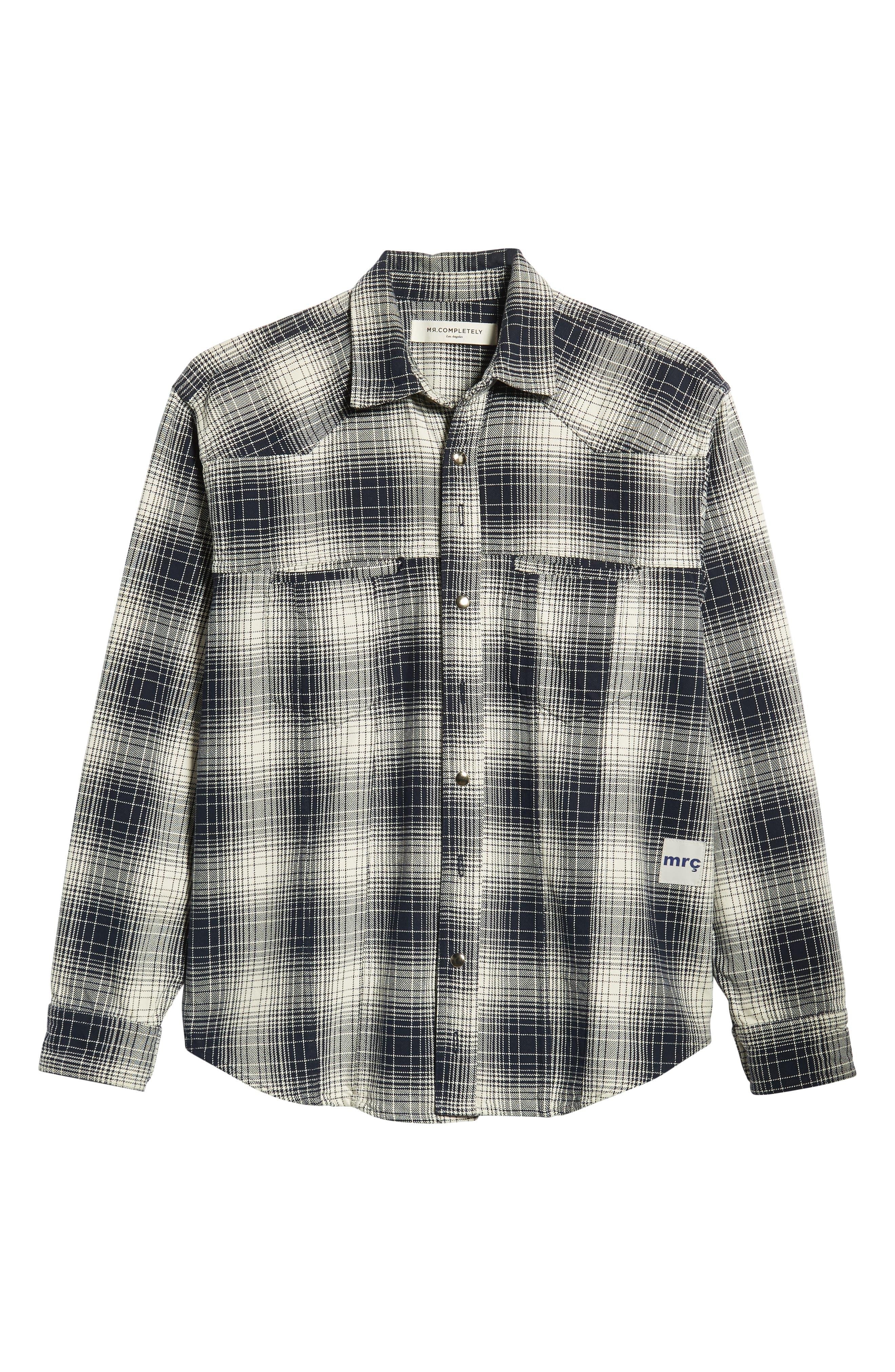 Western Flannel Slim Shirt,                             Alternate thumbnail 5, color,                             BLACK SHADOW