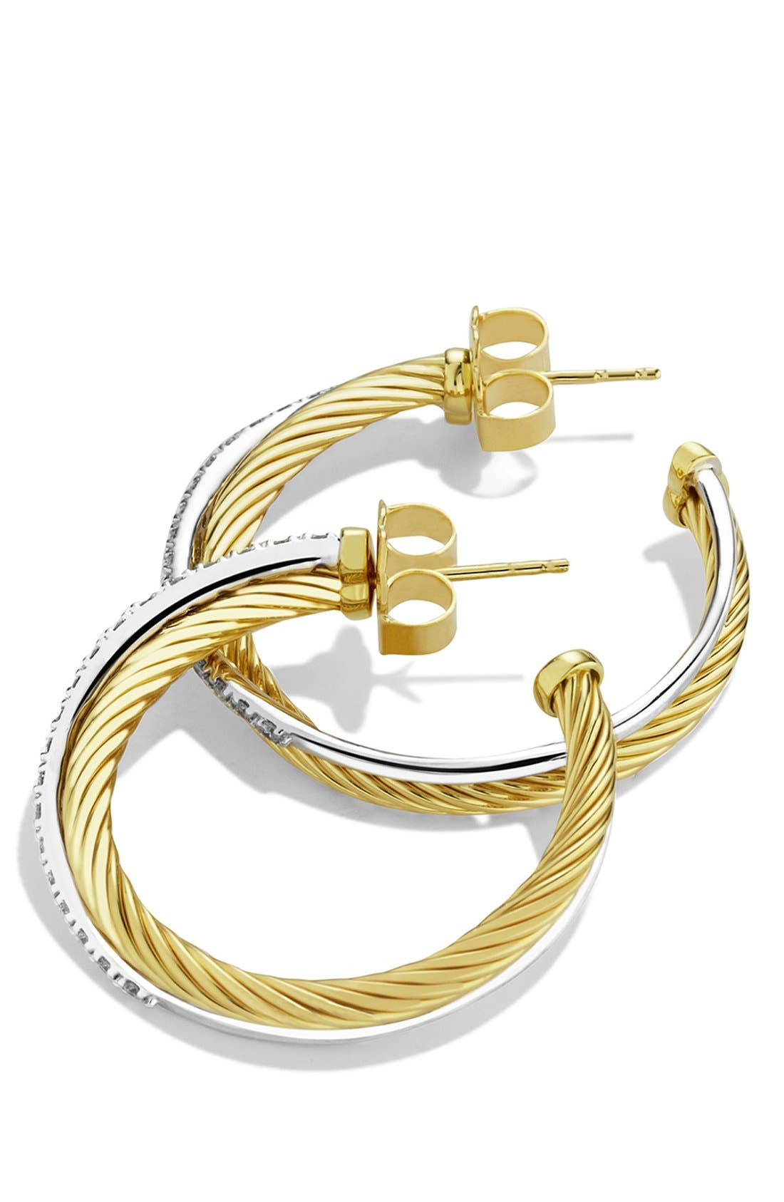 'Crossover' Medium Hoop Earrings with Diamonds in Gold,                         Main,                         color, DIAMOND