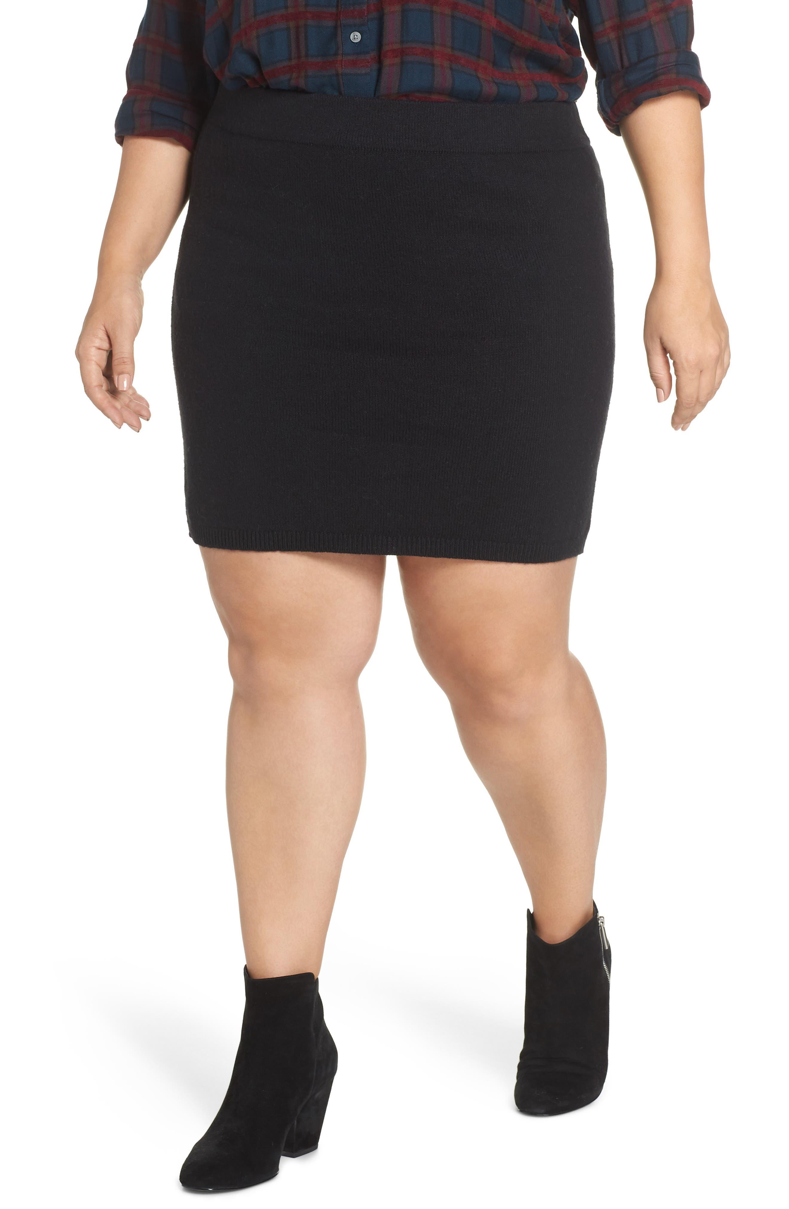 Sweater Miniskirt,                         Main,                         color, BLACK