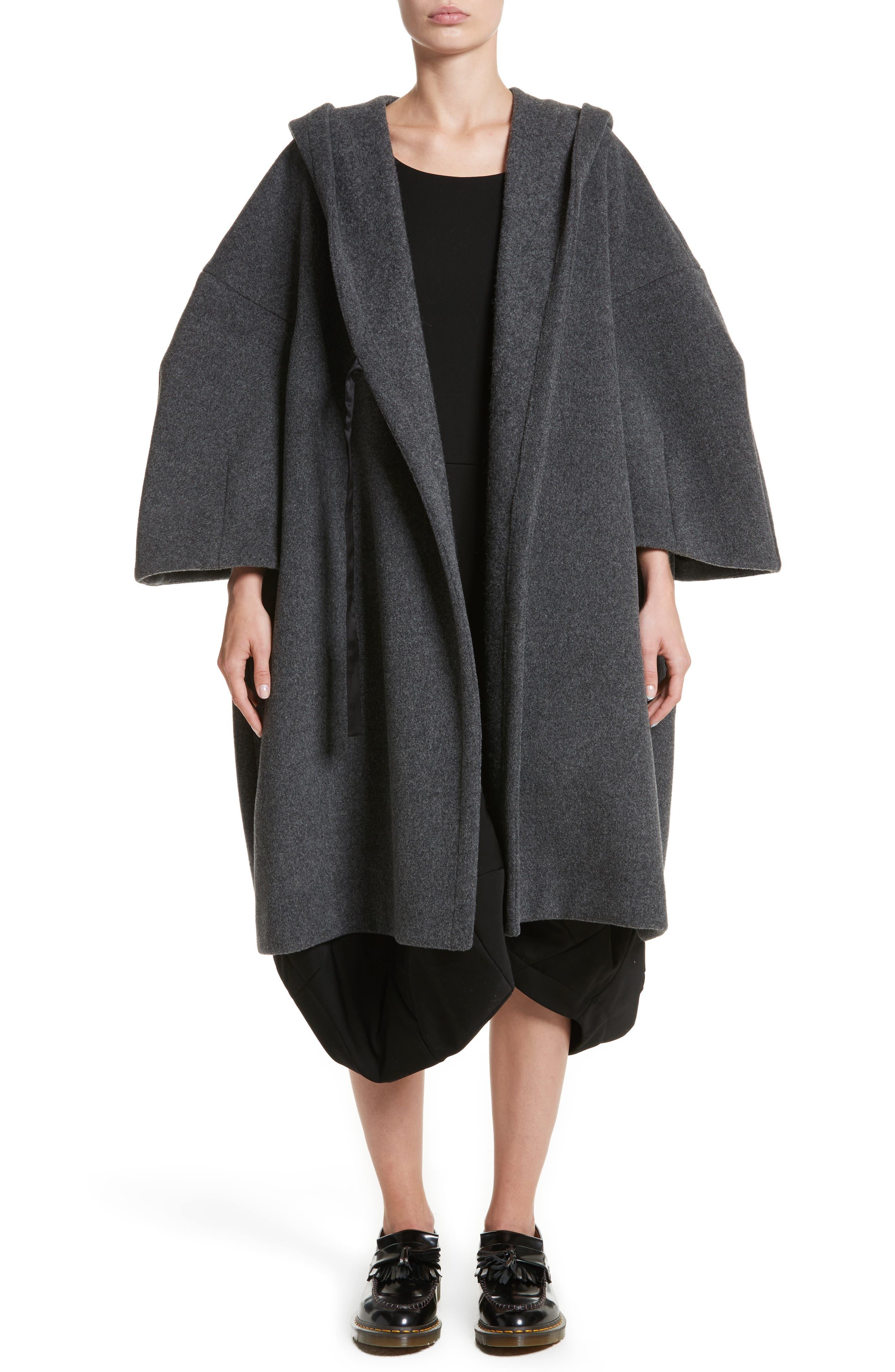 Long Hooded Wool Blend Coat,                             Main thumbnail 1, color,                             020