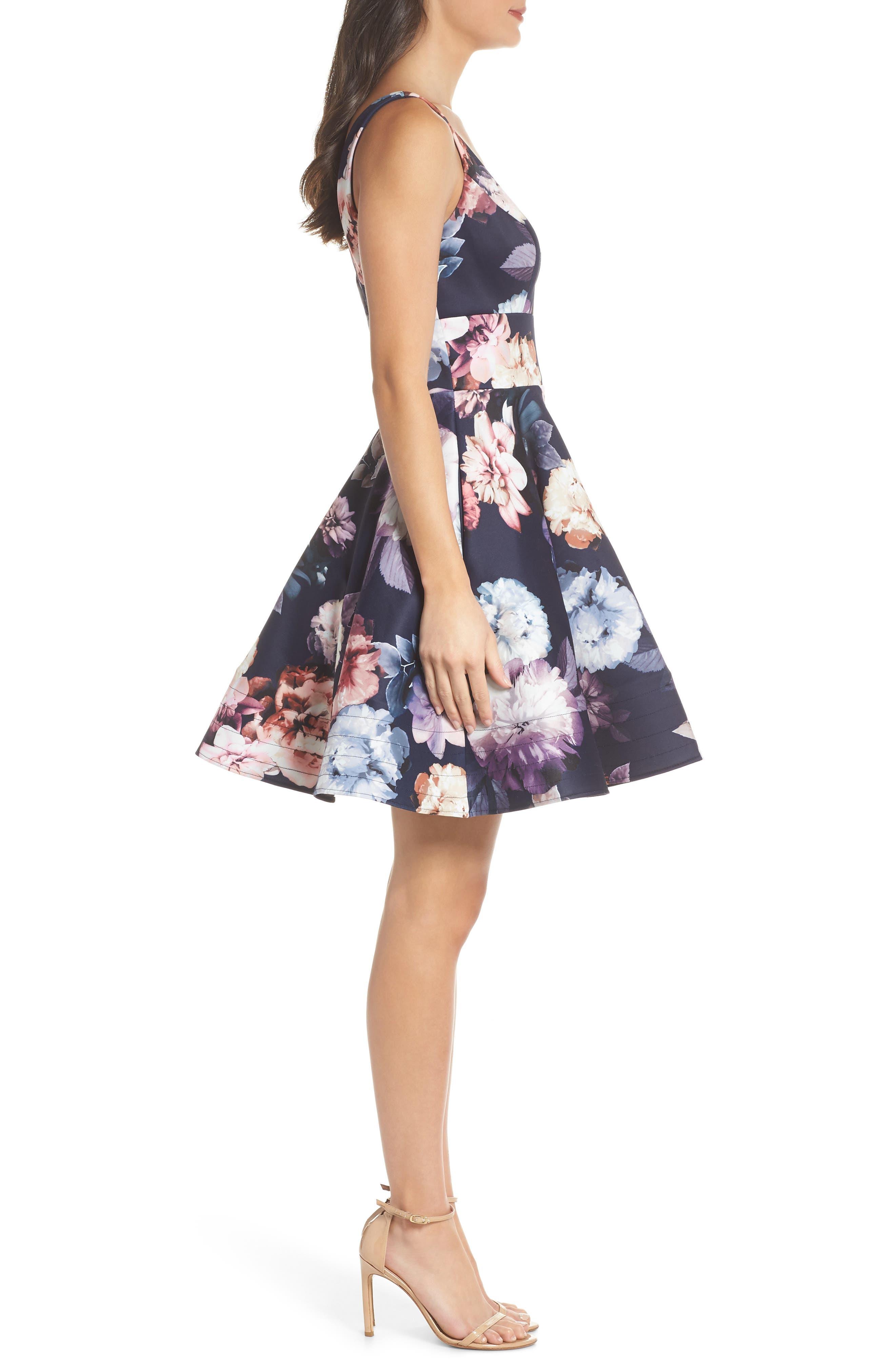 Floral Print Fit & Flare Dress,                             Alternate thumbnail 3, color,                             NAVY/ PURPLE