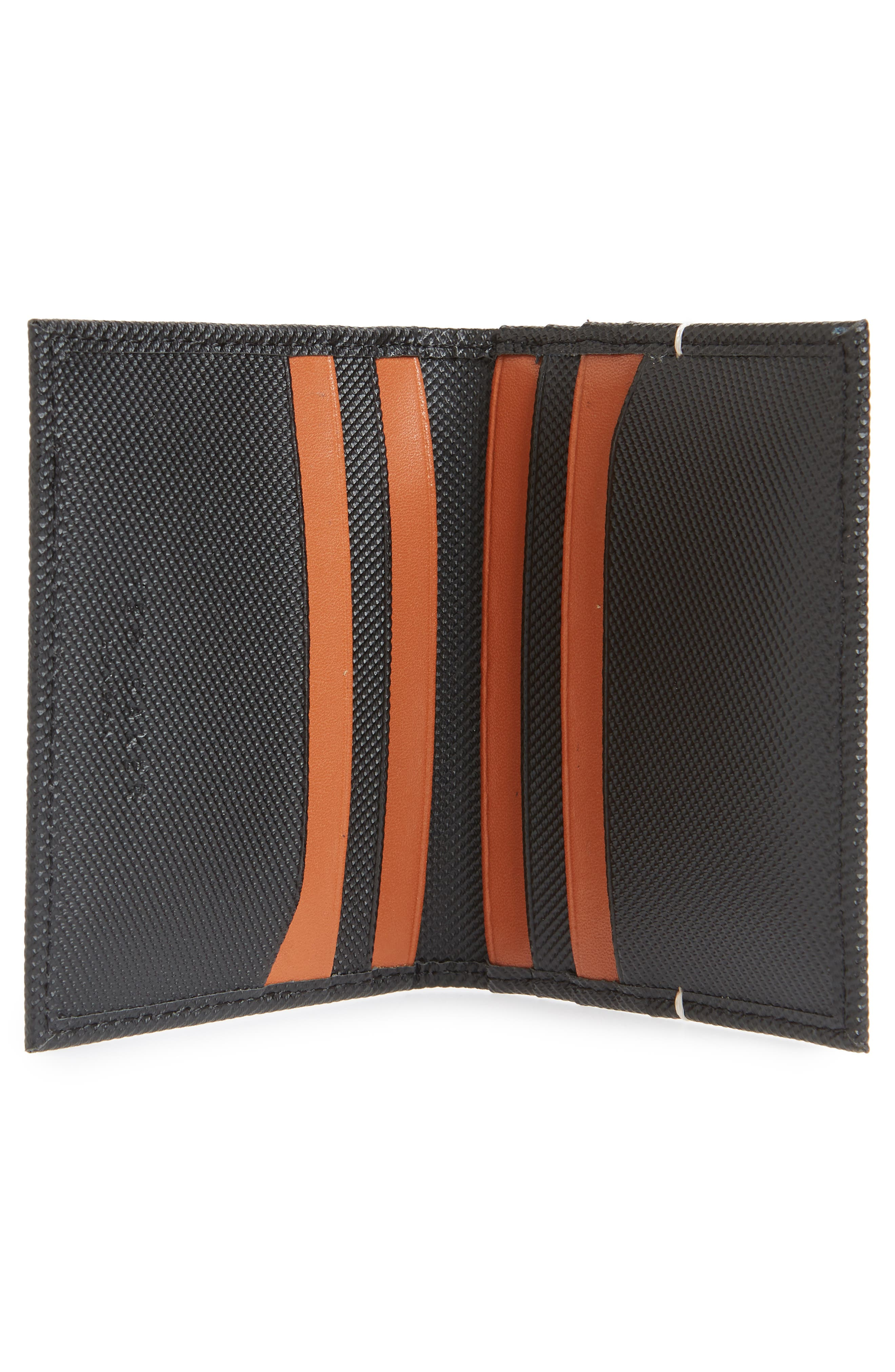 Micro Perforated Leather Bifold Card Holder,                             Alternate thumbnail 2, color,                             BLACK
