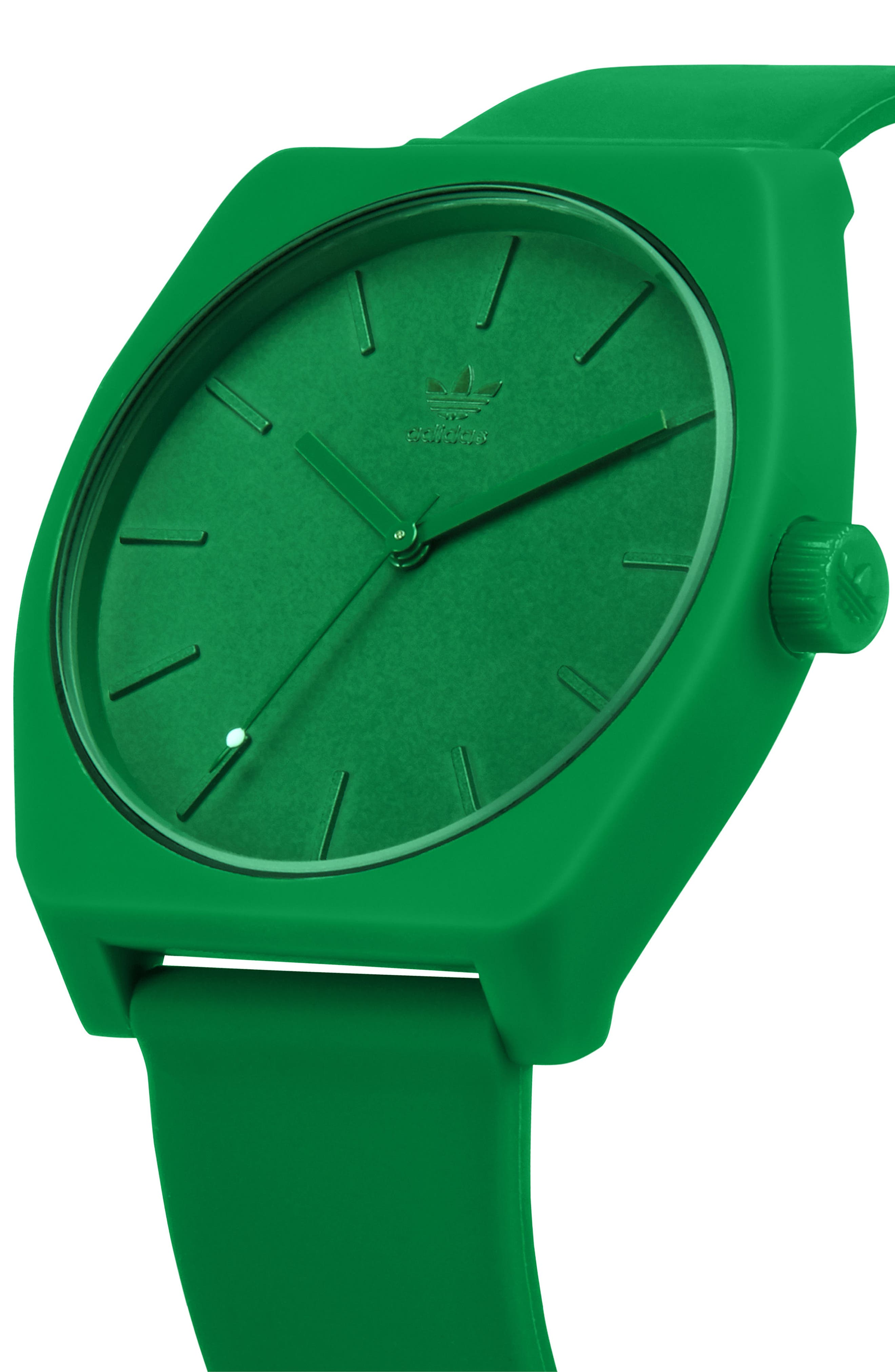 ADIDAS,                             Process Silicone Strap Watch, 38mm,                             Alternate thumbnail 5, color,                             GREEN