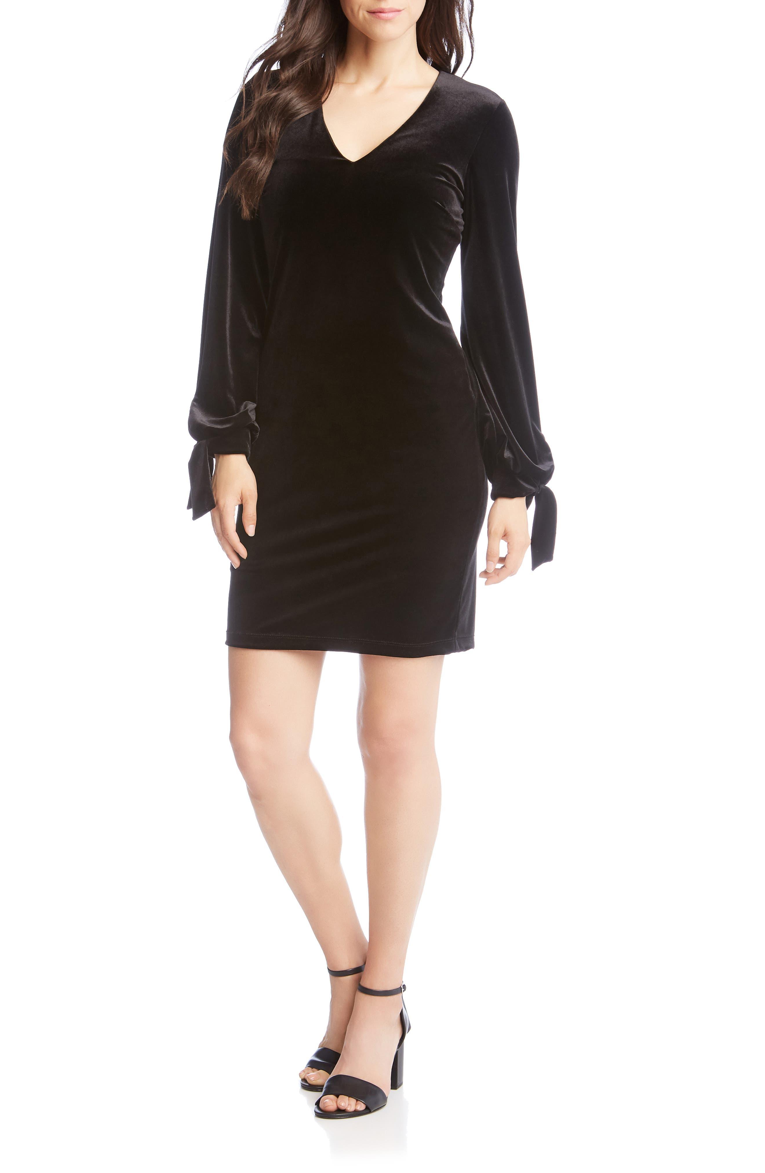 Velvet Tie Sleeve Sheath Dress,                         Main,                         color, BLACK