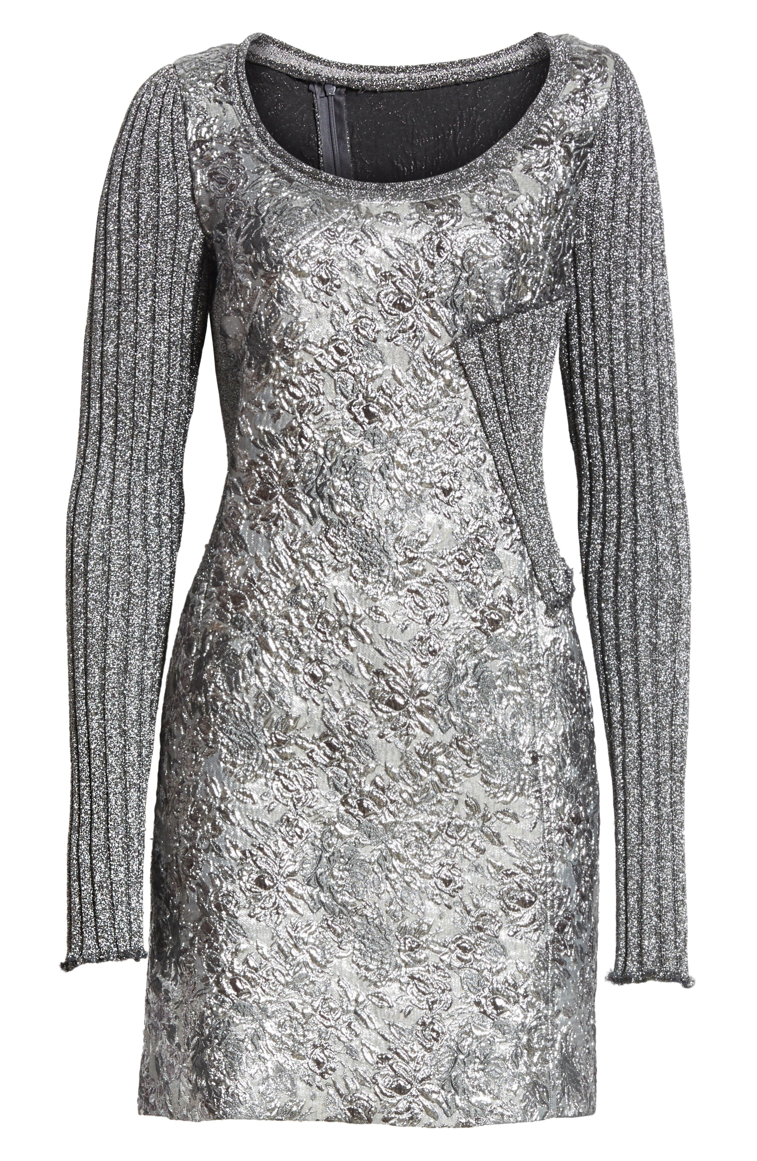 Mixed Media Metallic Sweater Dress,                             Alternate thumbnail 6, color,                             040