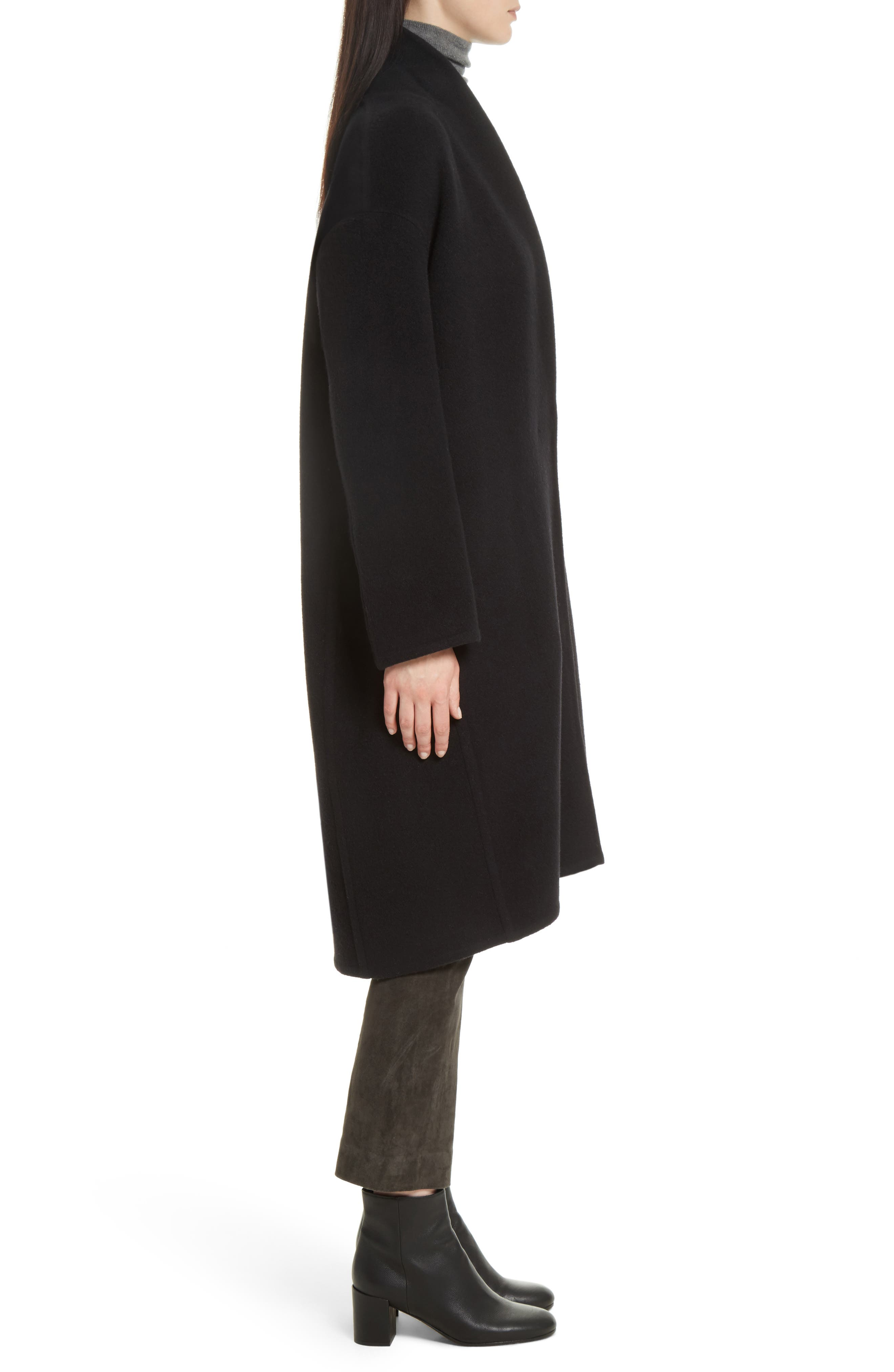 VINCE,                             High Collar Long Wool Blend Coat,                             Alternate thumbnail 3, color,                             001