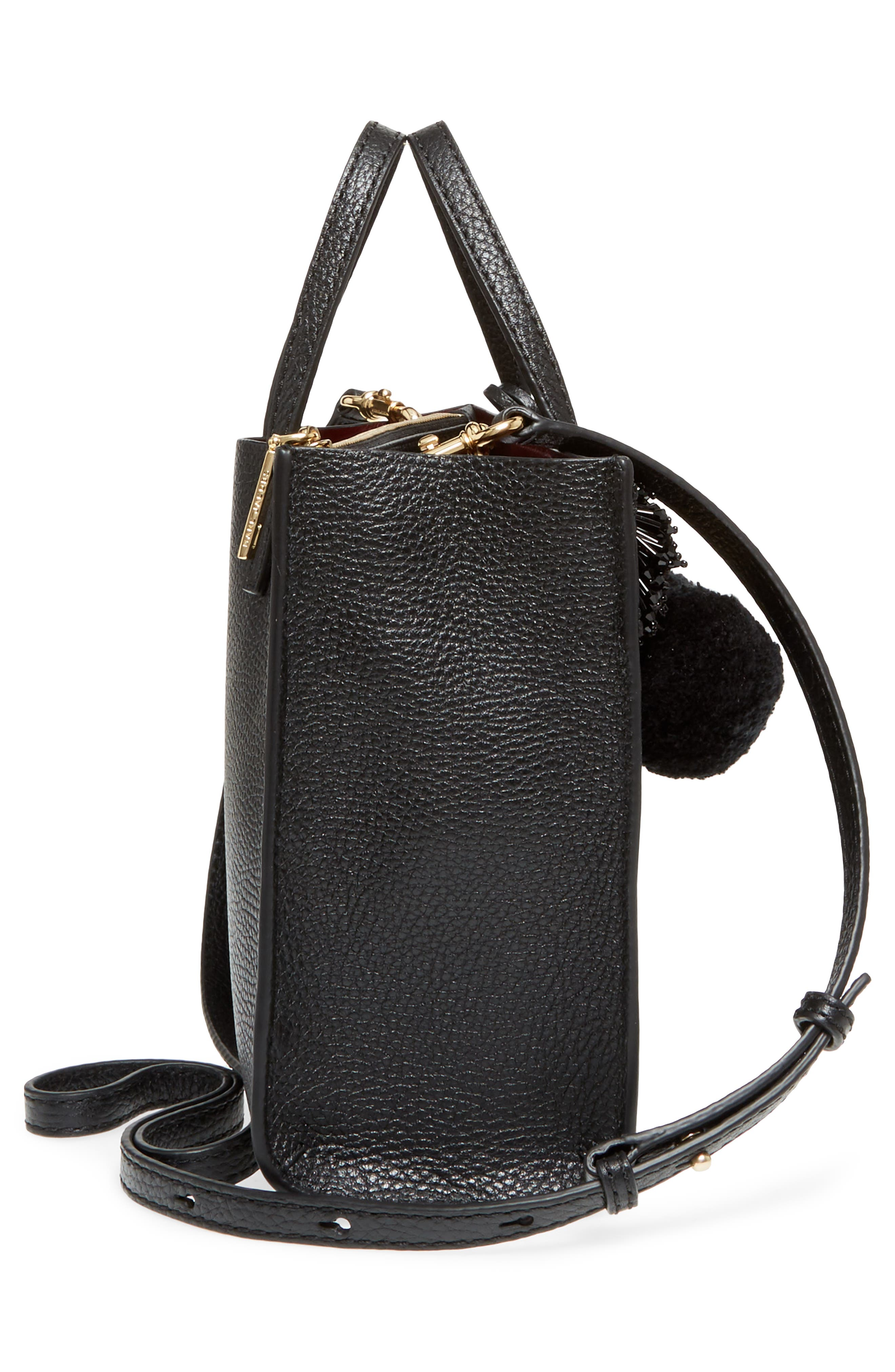 The Grind Mini Pompom Leather Tote,                             Alternate thumbnail 5, color,                             001