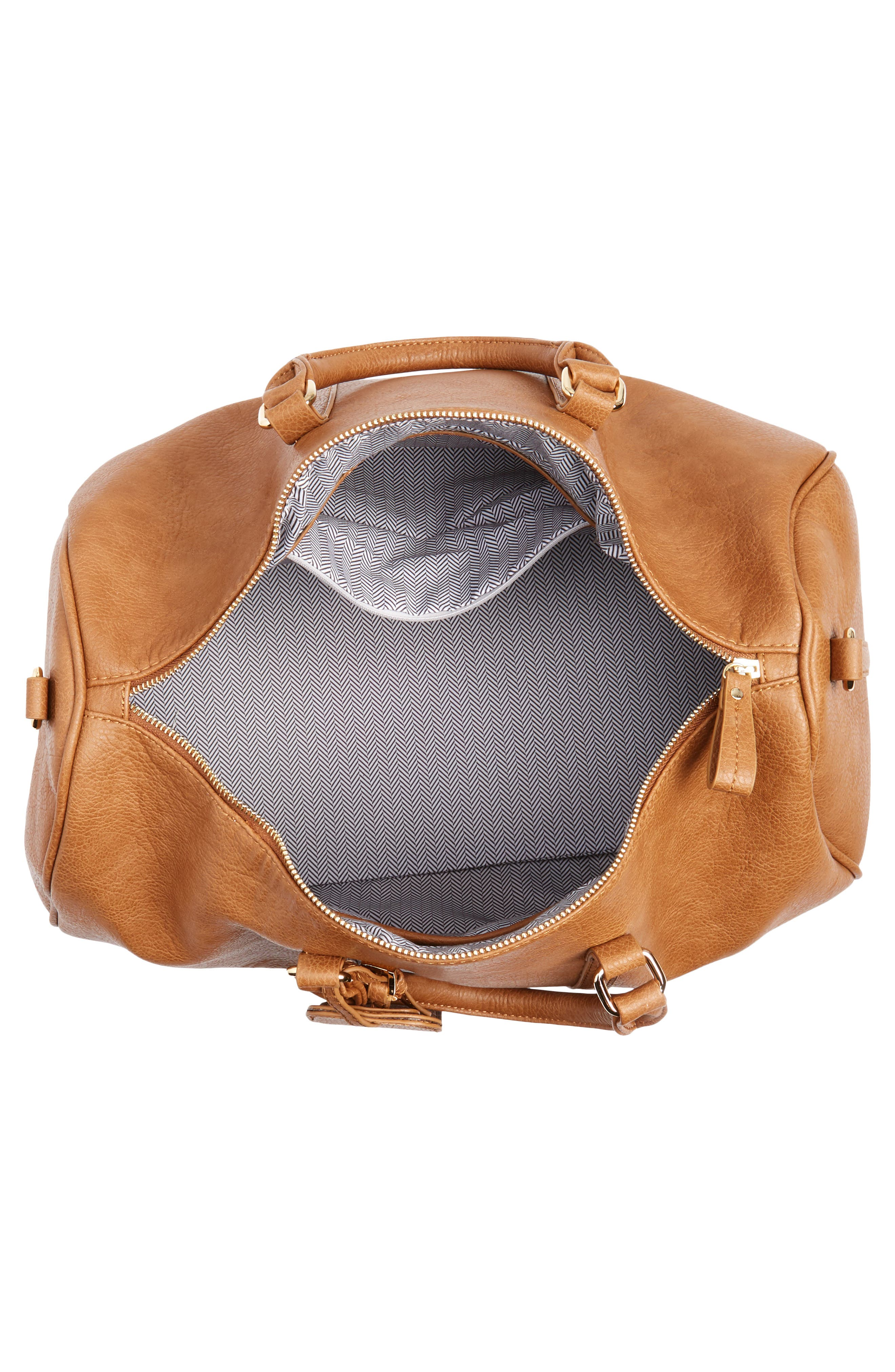 'Cassidy' Faux Leather Duffel Bag,                             Alternate thumbnail 4, color,                             COGNAC