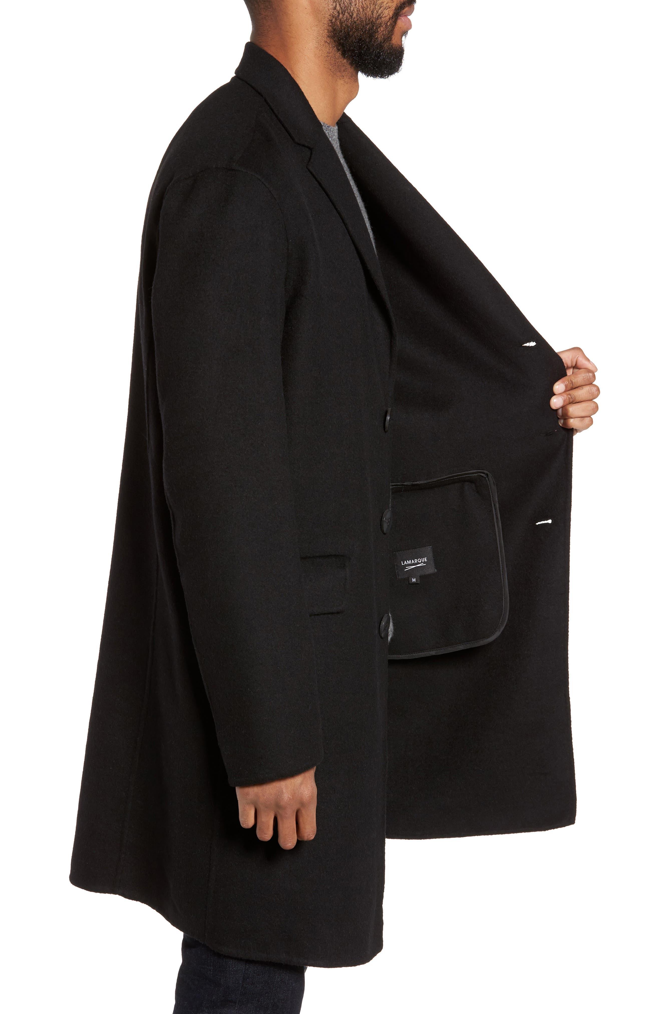 Wool Blend Topcoat,                             Alternate thumbnail 3, color,                             BLACK