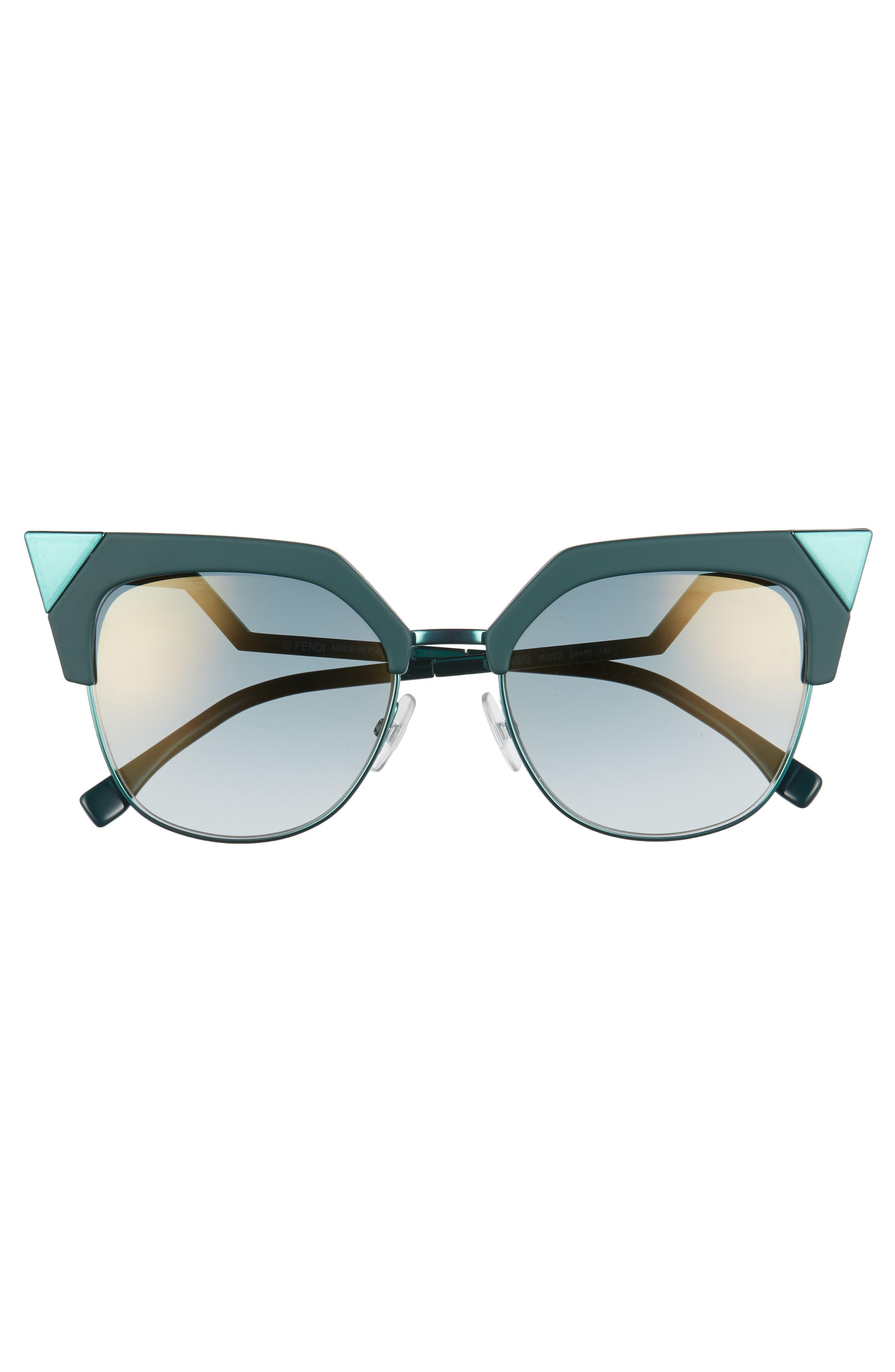 54mm Metal Tipped Cat Eye Sunglasses,                             Alternate thumbnail 3, color,                             GREEN