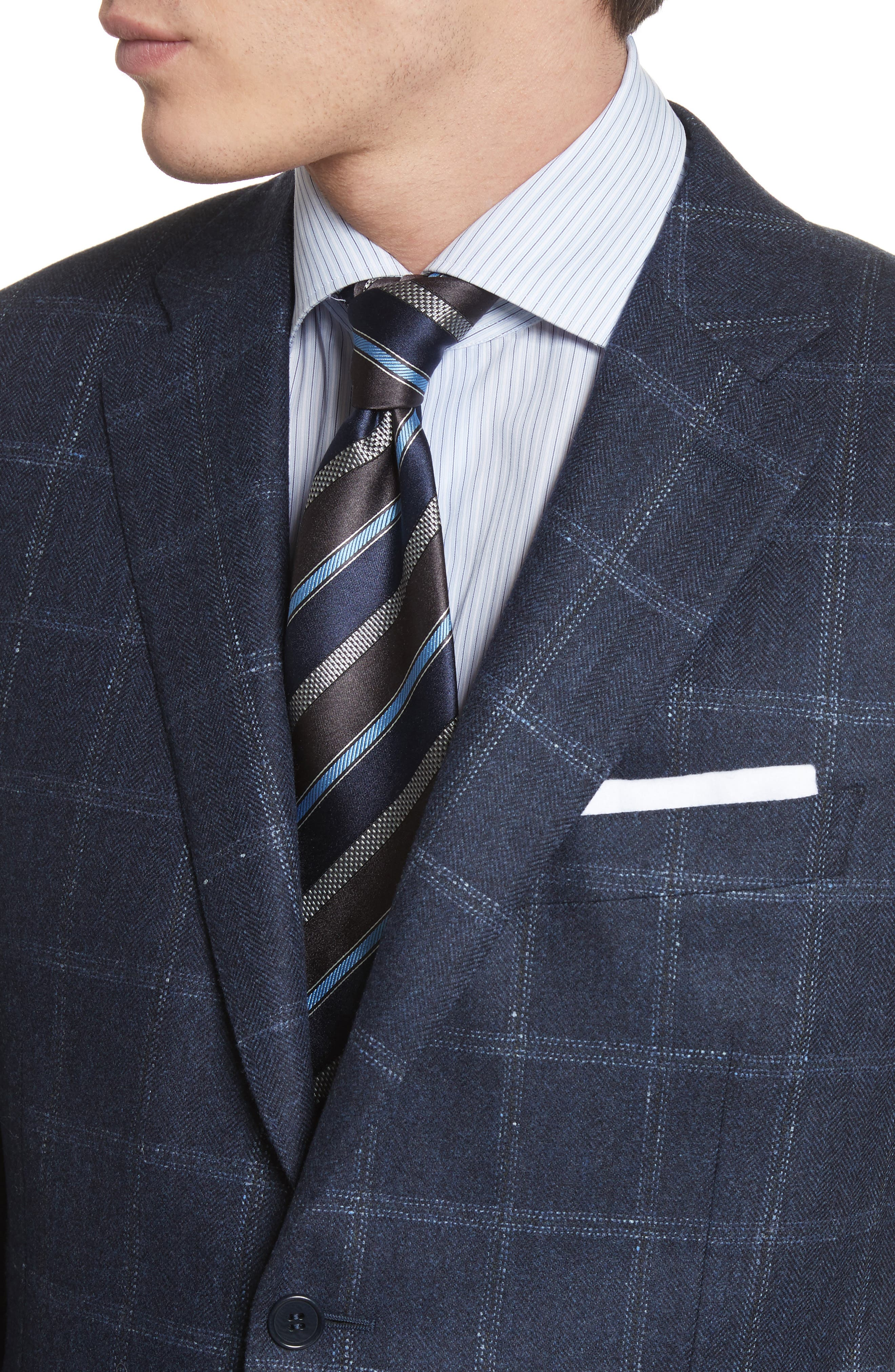 Classic Fit Windowpane Wool & Cashmere Sport Coat,                             Alternate thumbnail 4, color,