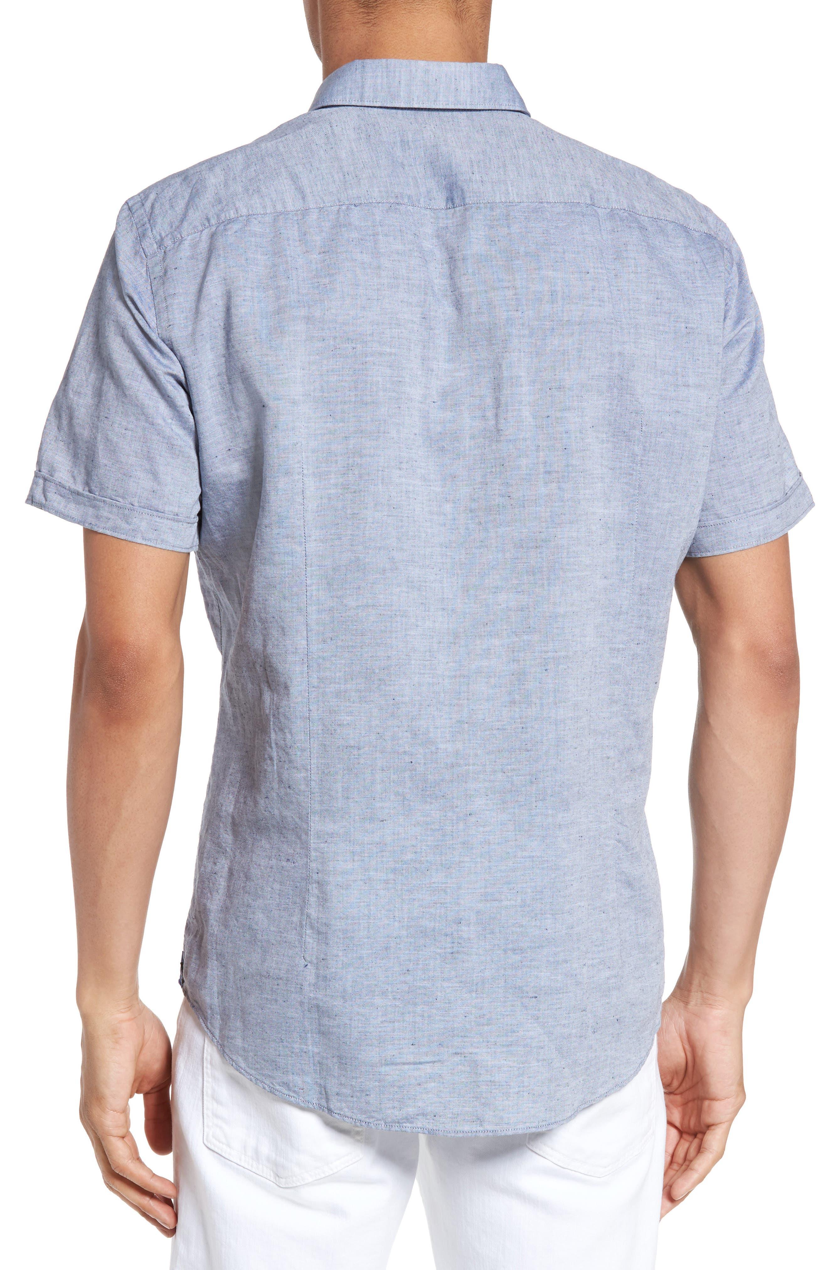 Robbie Slim Fit Linen & Cotton Shirt,                             Alternate thumbnail 2, color,                             402
