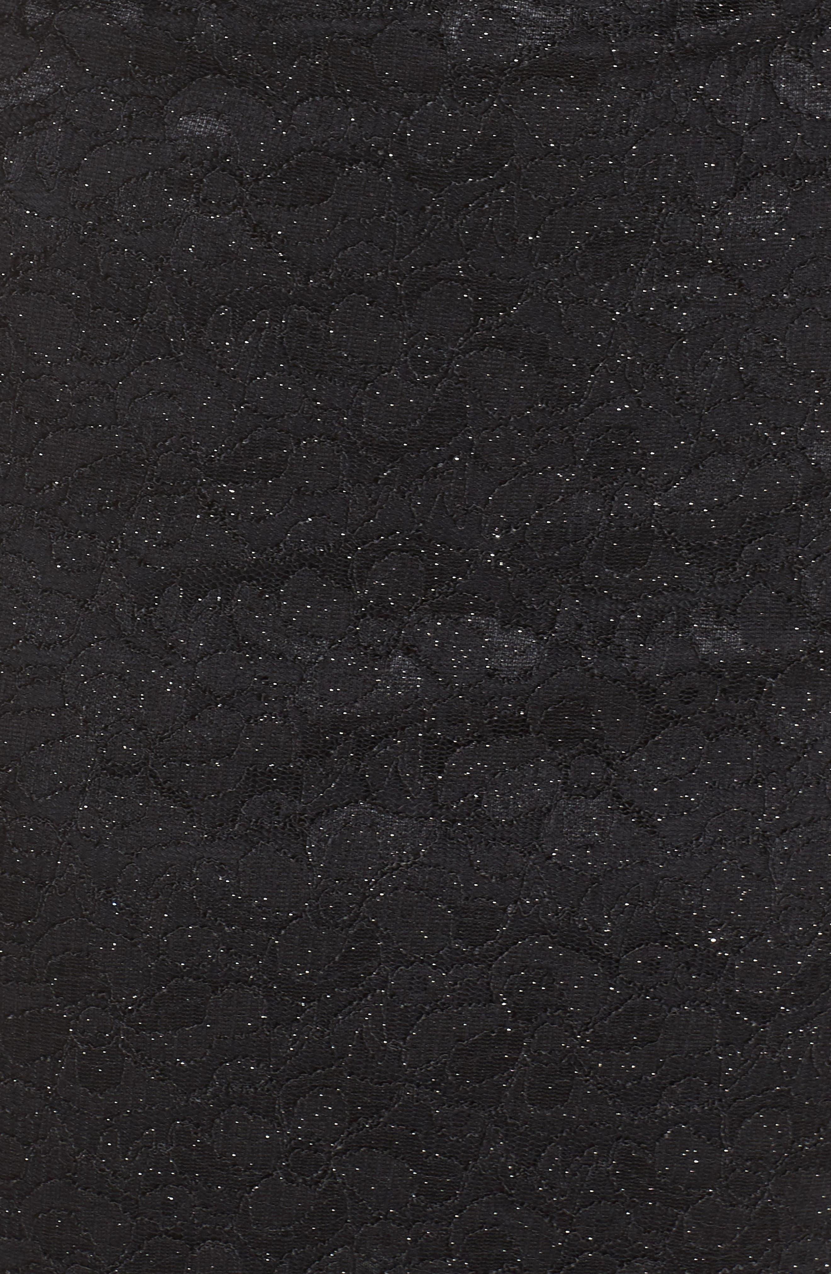 Open Back Glitter Lace Cocktail Sheath,                             Alternate thumbnail 6, color,                             BK BLACK