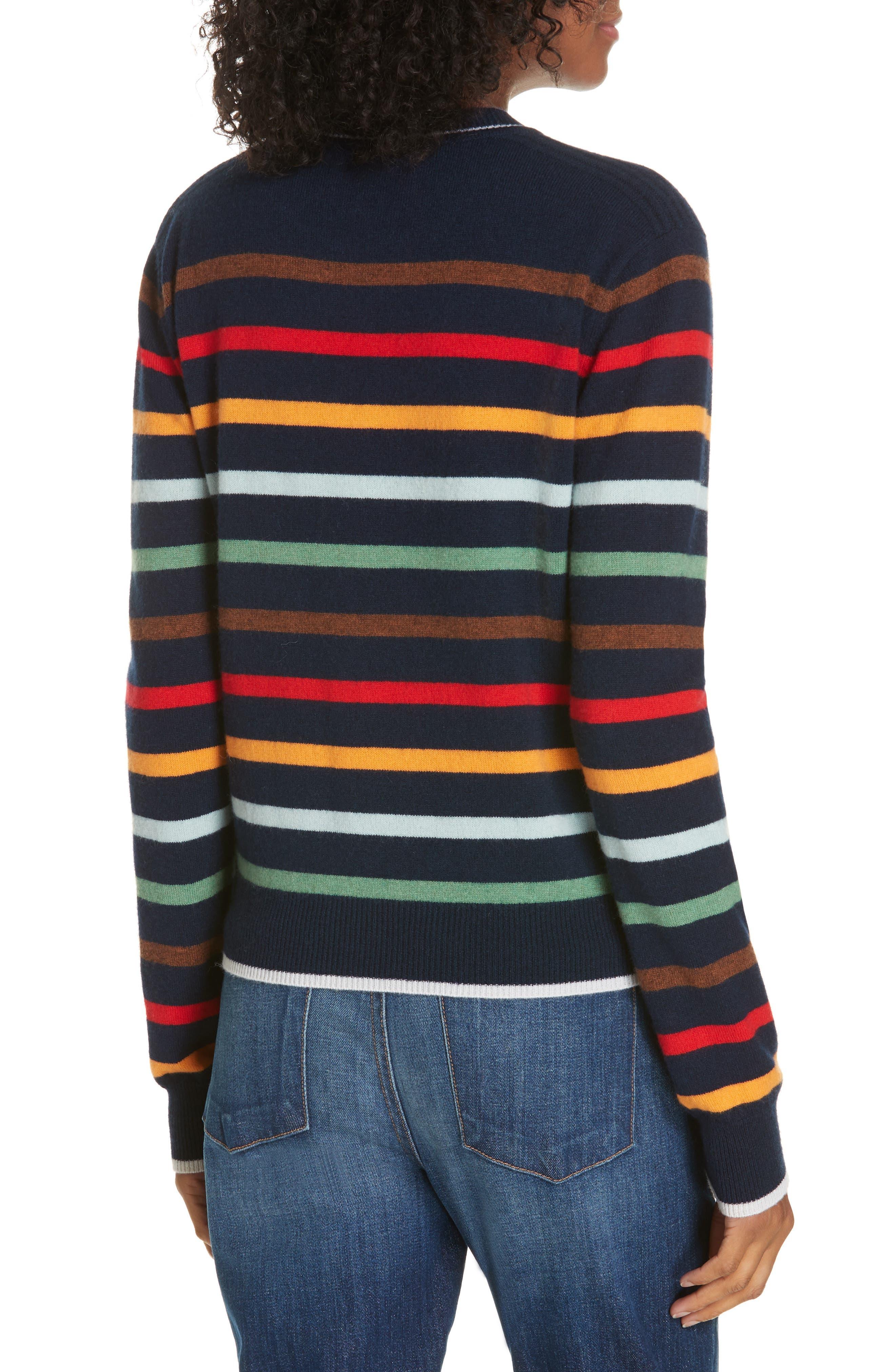Rainbow Neat Wool & Cashmere Sweater,                             Alternate thumbnail 2, color,                             NAVY/ RAINBOW