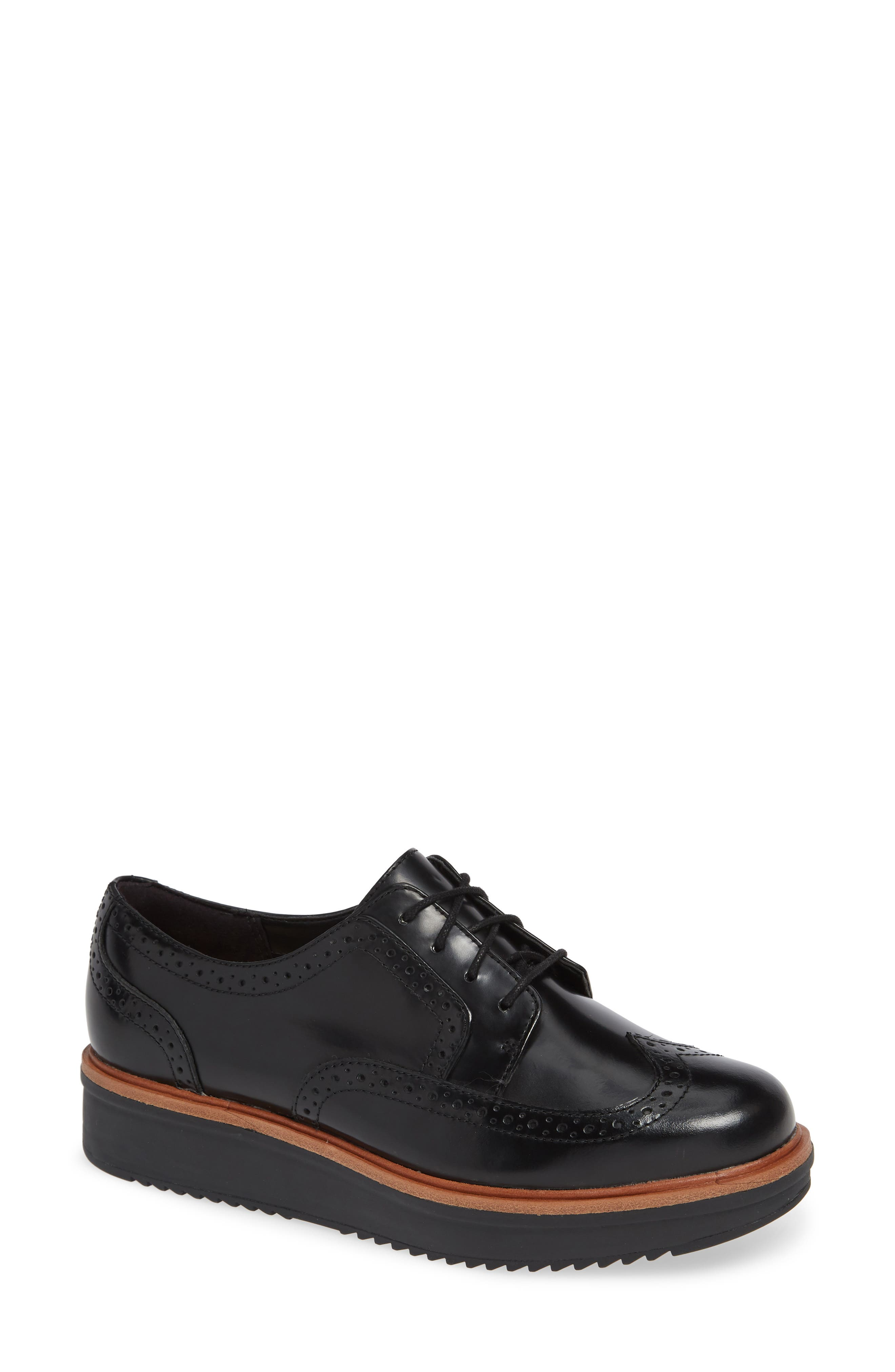 Teadale Maira Wingtip Derby,                             Main thumbnail 1, color,                             BLACK LEATHER