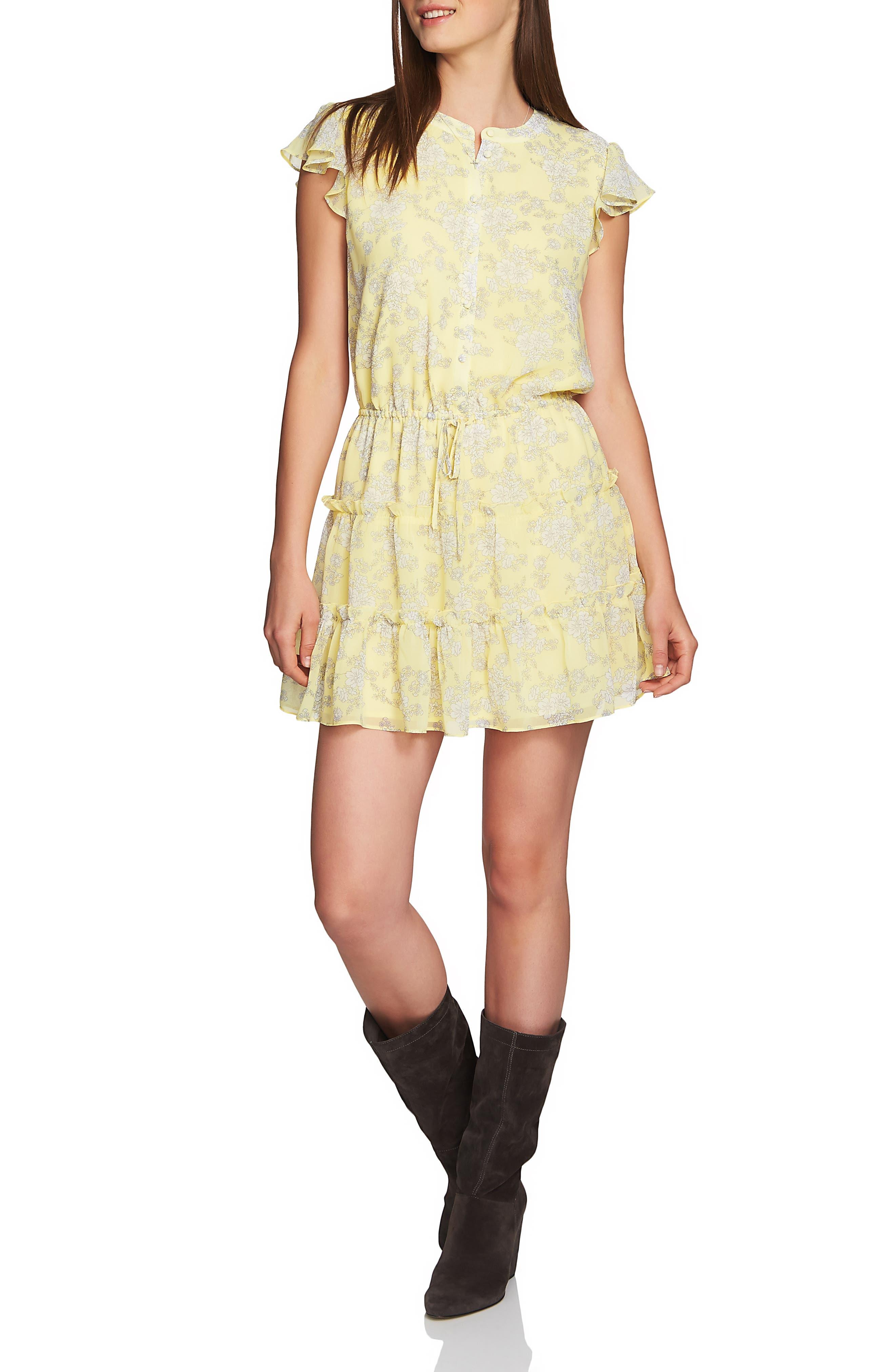 1.state Forest Tiered Ruffle Minidress, Yellow