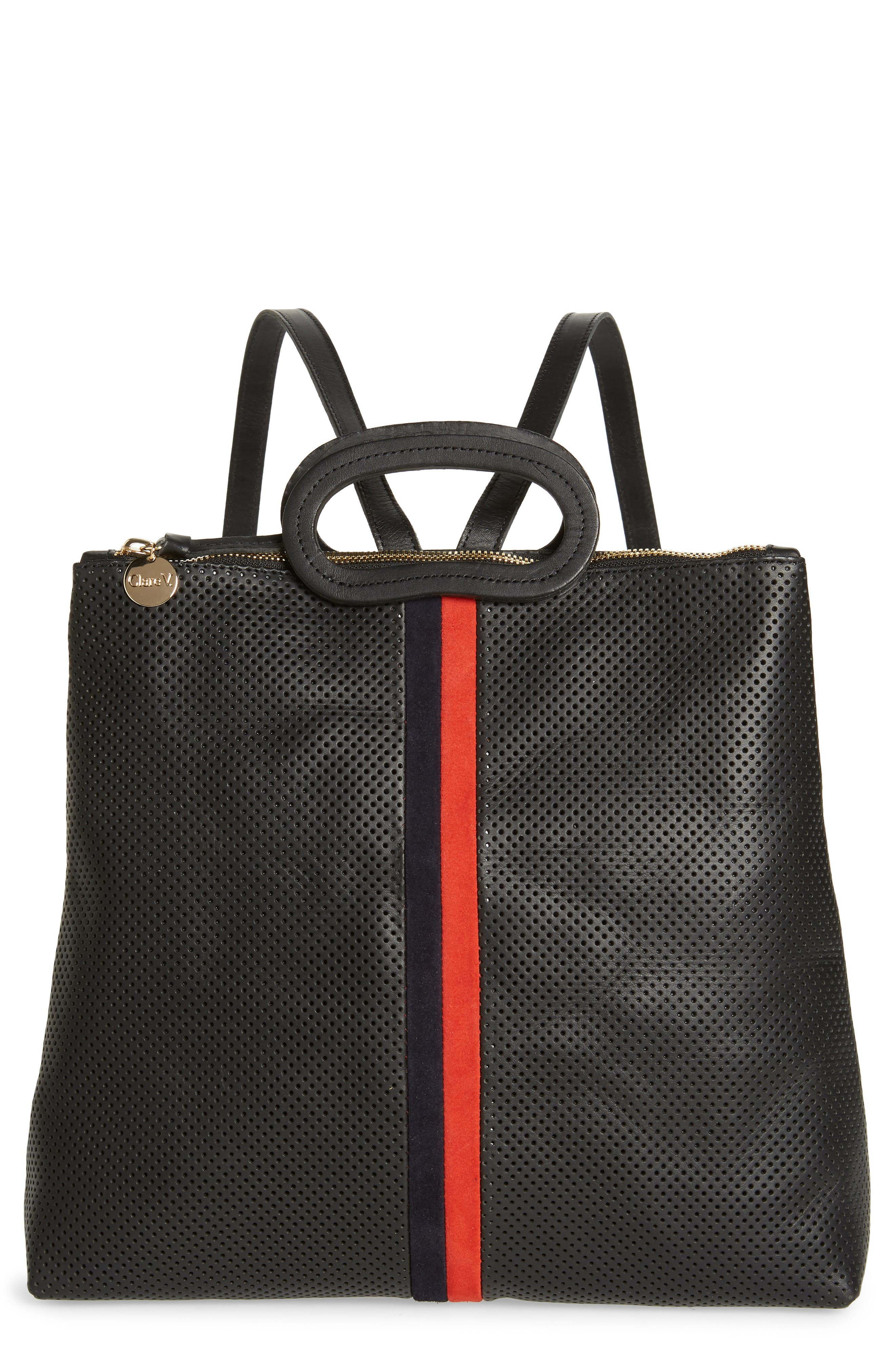 Marcelle Perforated Leather Backpack,                         Main,                         color, BLACK PERF WITH NAVY/ RED