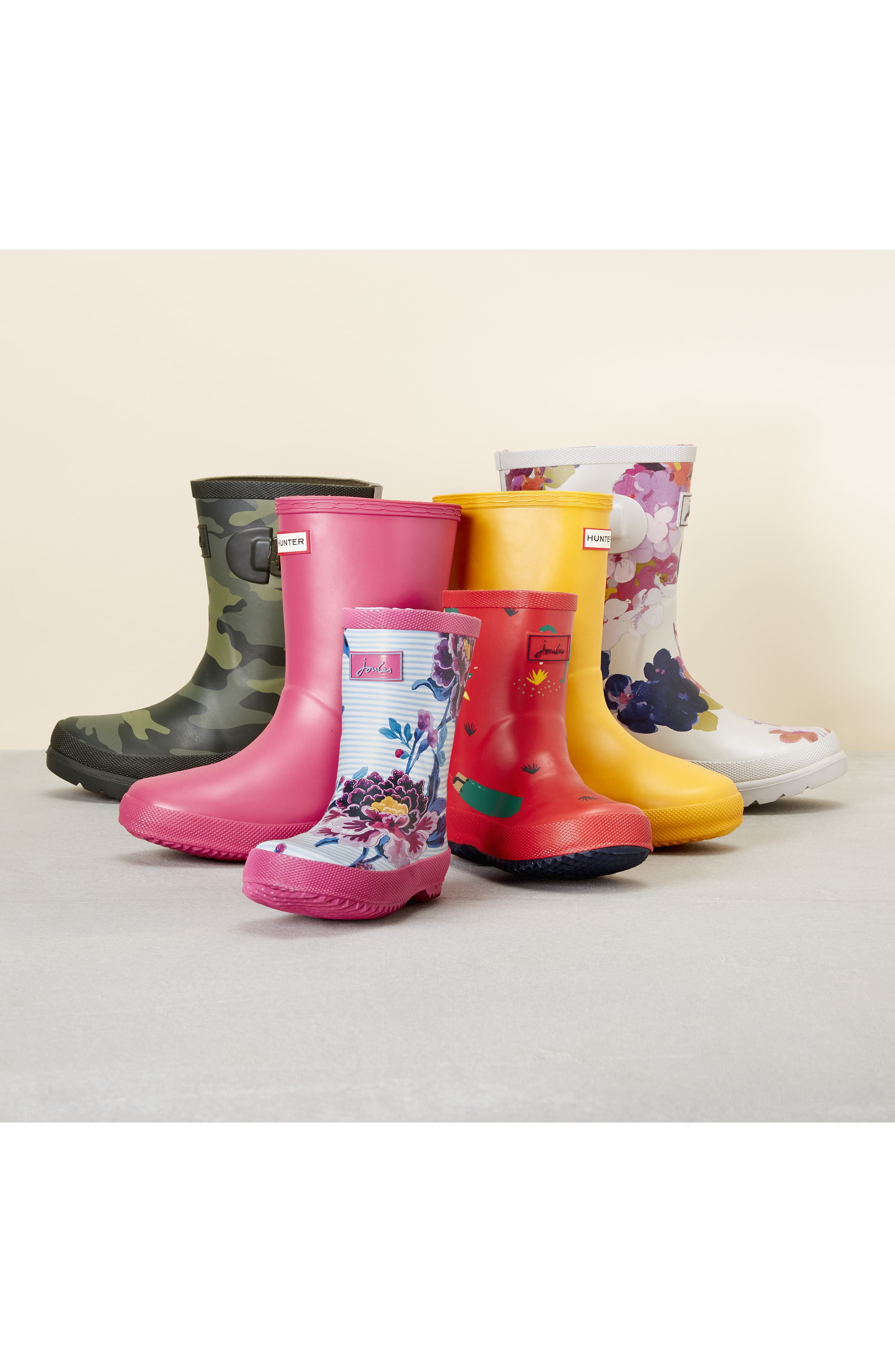 Mid Height Print Welly Waterproof Rain Boot,                             Alternate thumbnail 8, color,                             BLUE RAINBOW