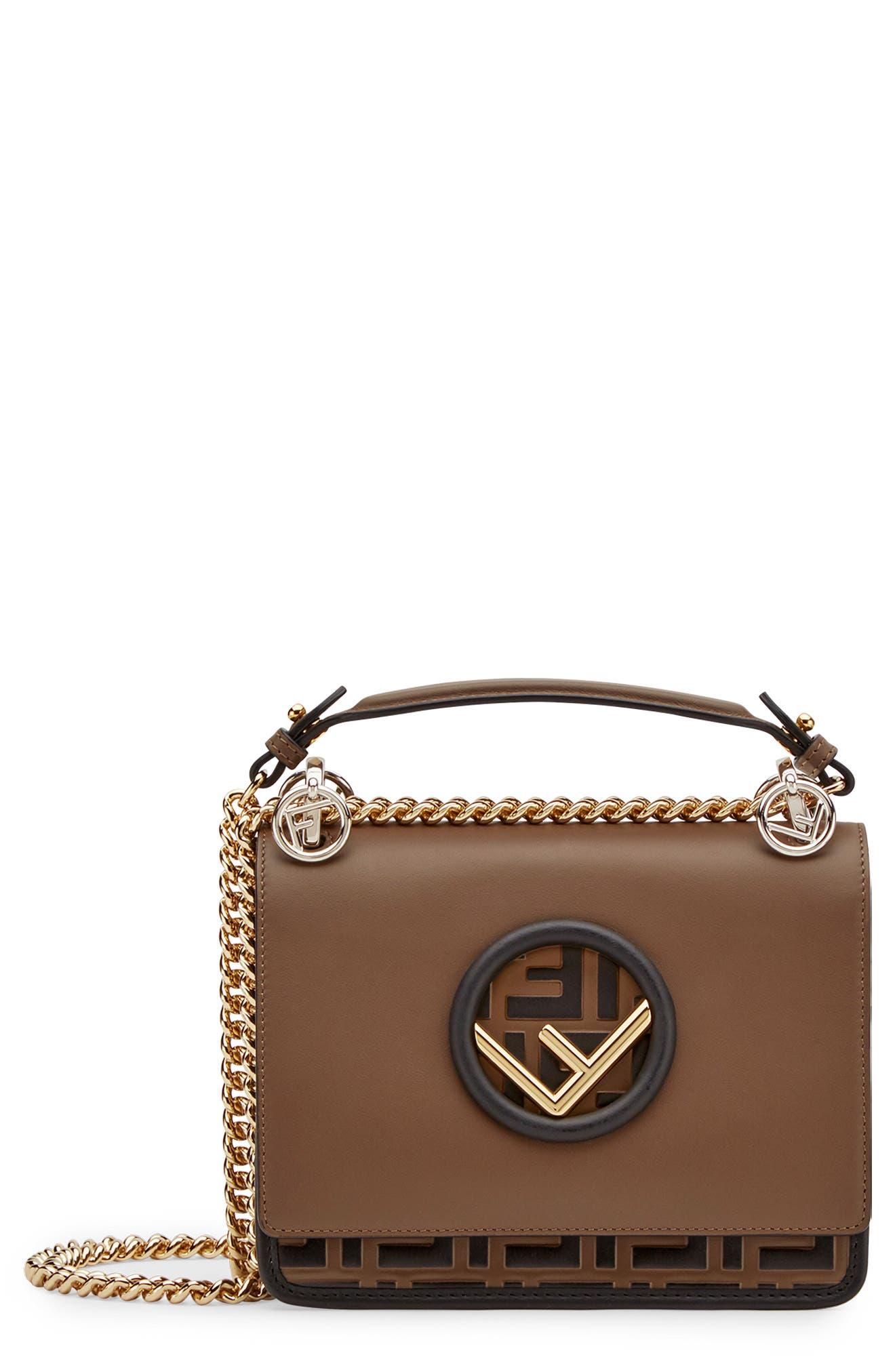 FENDI,                             Small Kan I Logo Embossed Leather Shoulder Bag,                             Main thumbnail 1, color,                             MAYA/ NERO