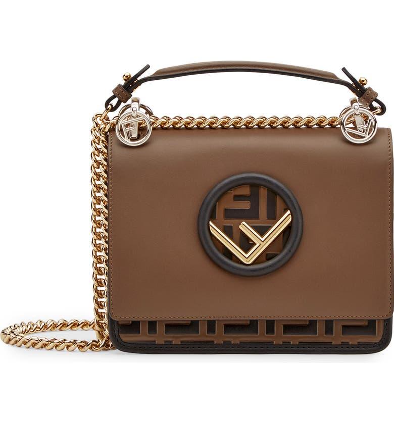 Fendi Small Kan I Logo Embossed Leather Shoulder Bag  0e3e4e1546fbf