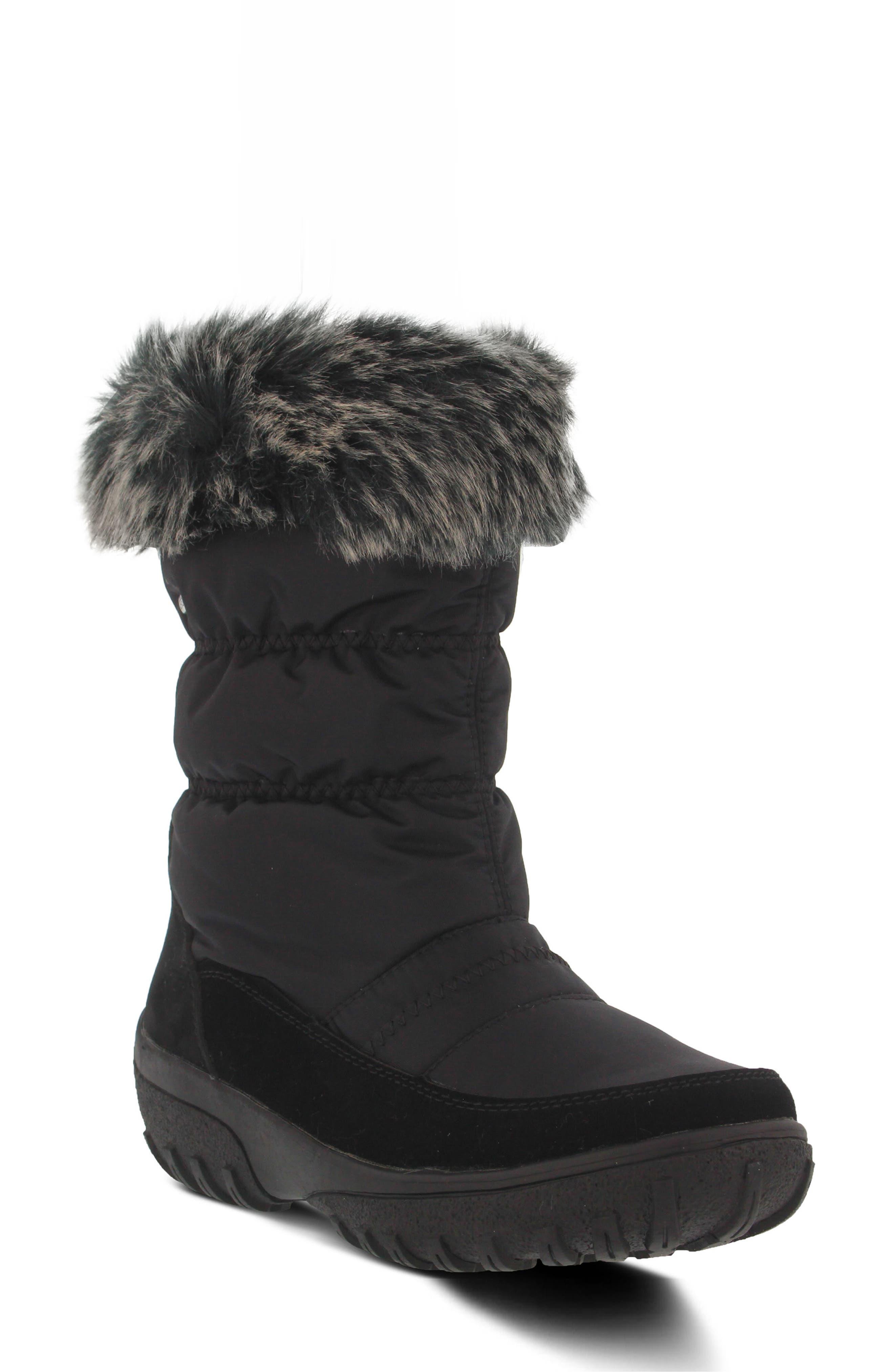 Rolim Faux Fur Trim Waterproof Boot,                             Main thumbnail 1, color,                             BLACK