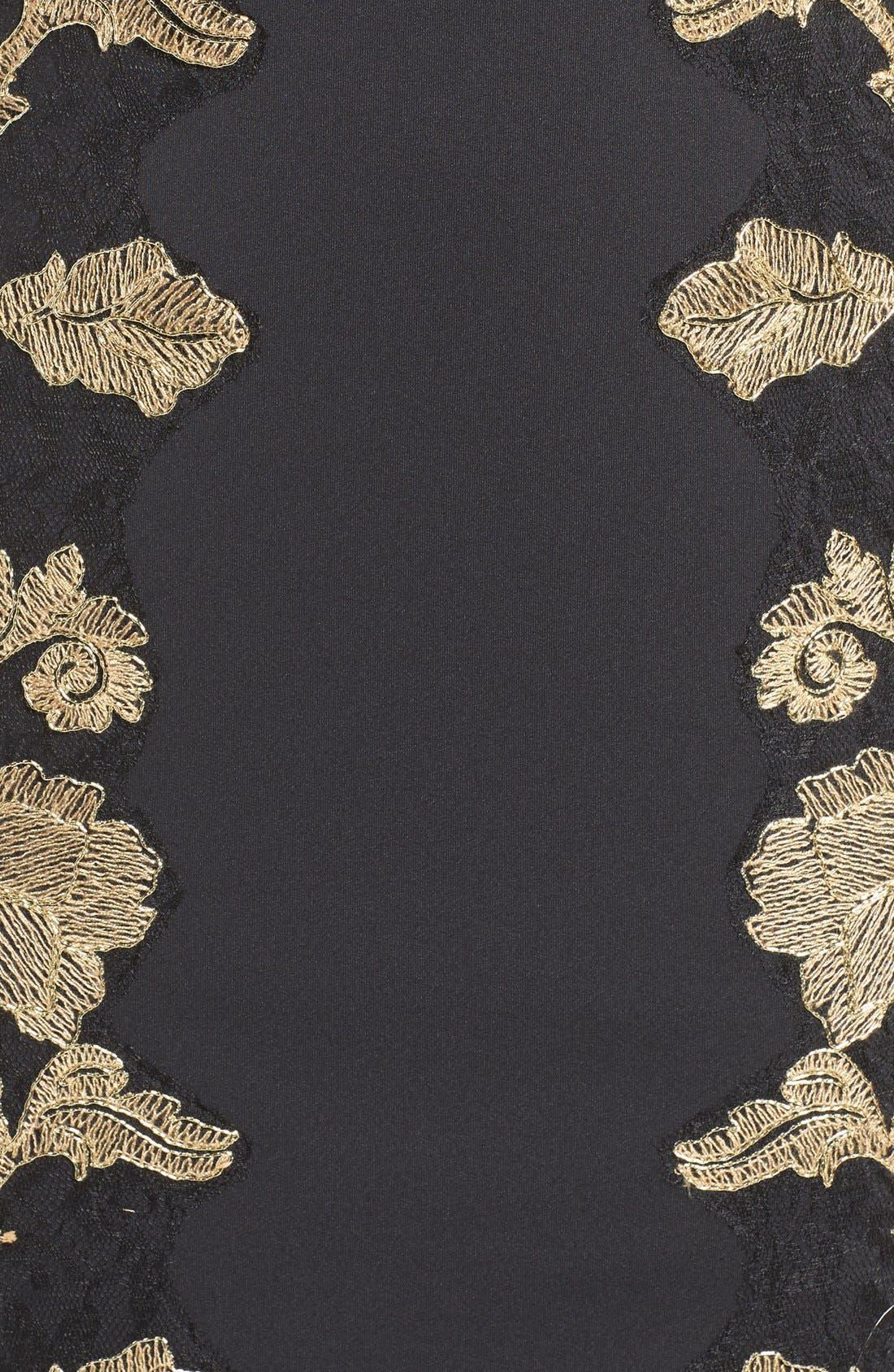 Embroidered Neoprene Sheath Dress,                             Alternate thumbnail 5, color,