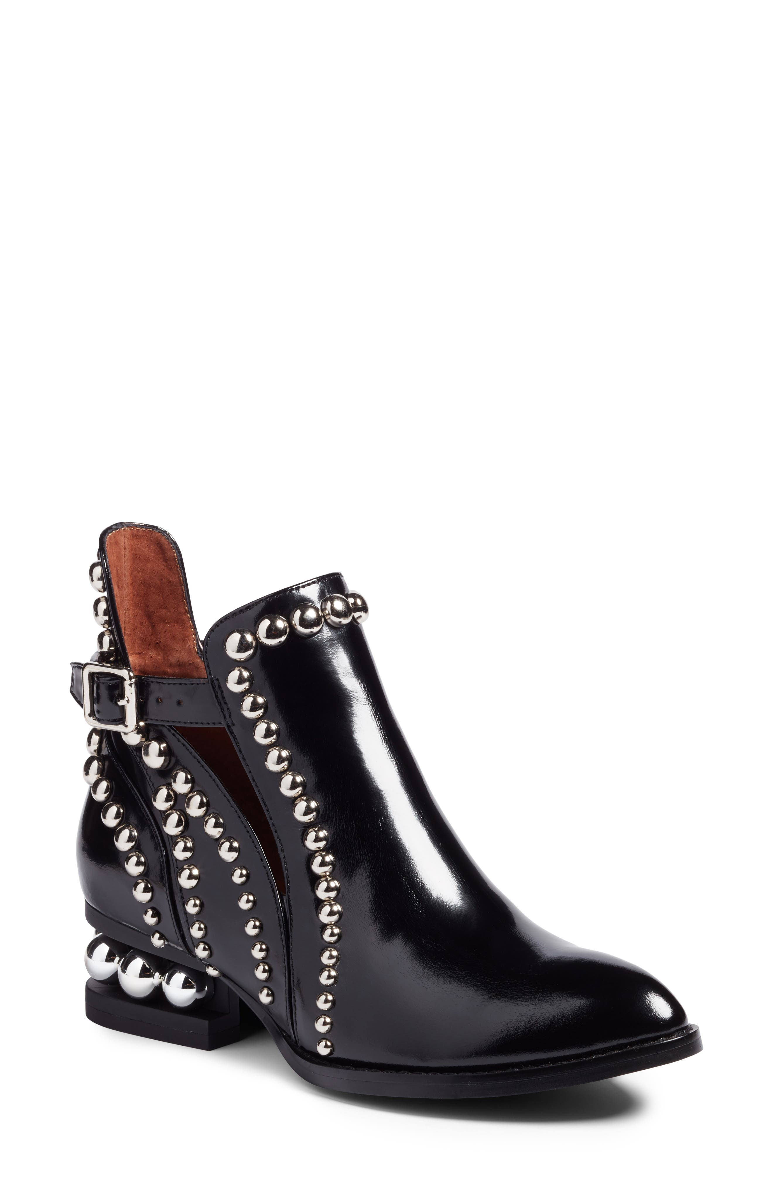 Rylance Studded Bootie,                             Main thumbnail 1, color,                             BLACK BOX SILVER LEATHER