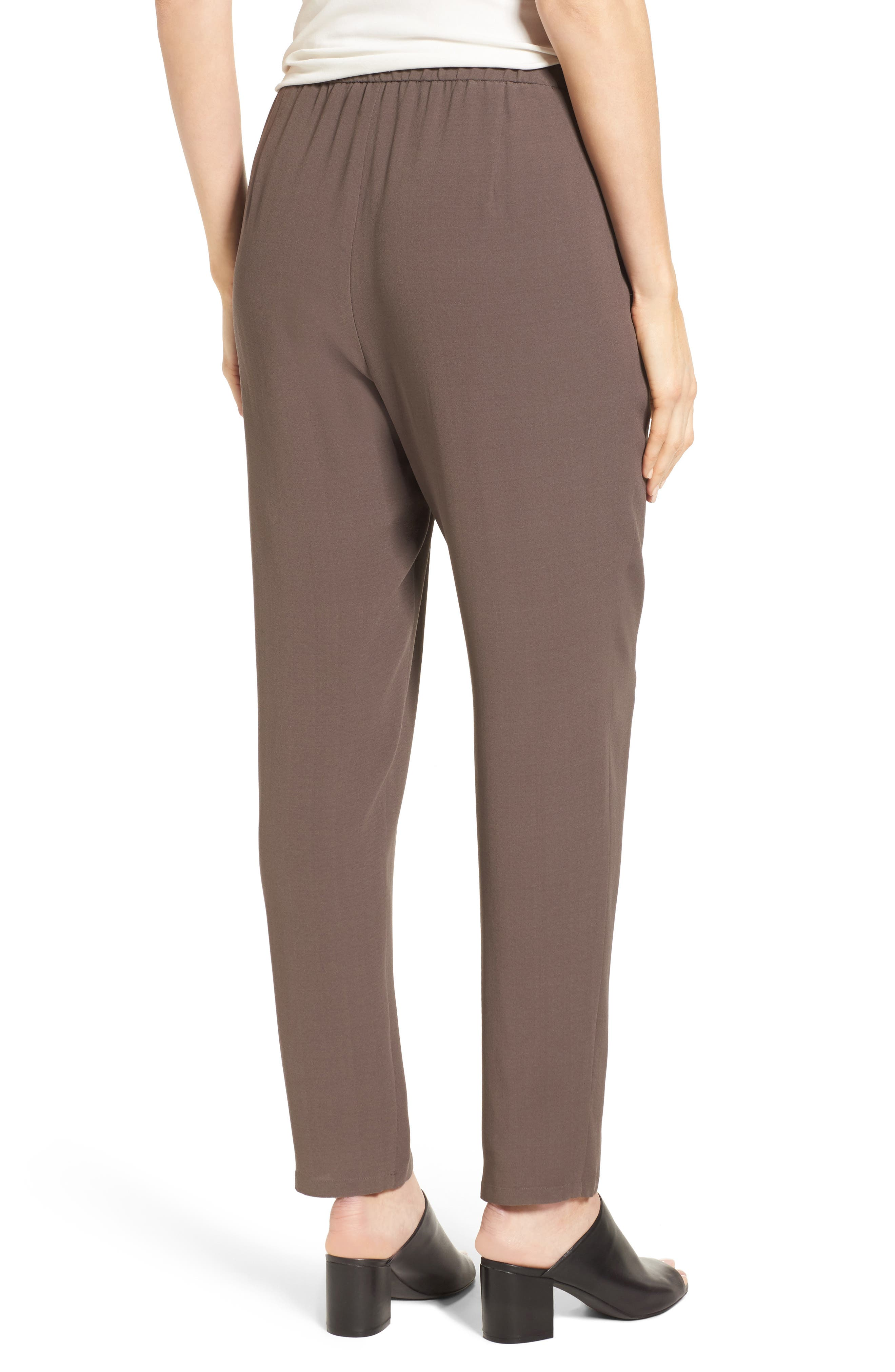 Slouchy Silk Crepe Ankle Pants,                             Alternate thumbnail 15, color,