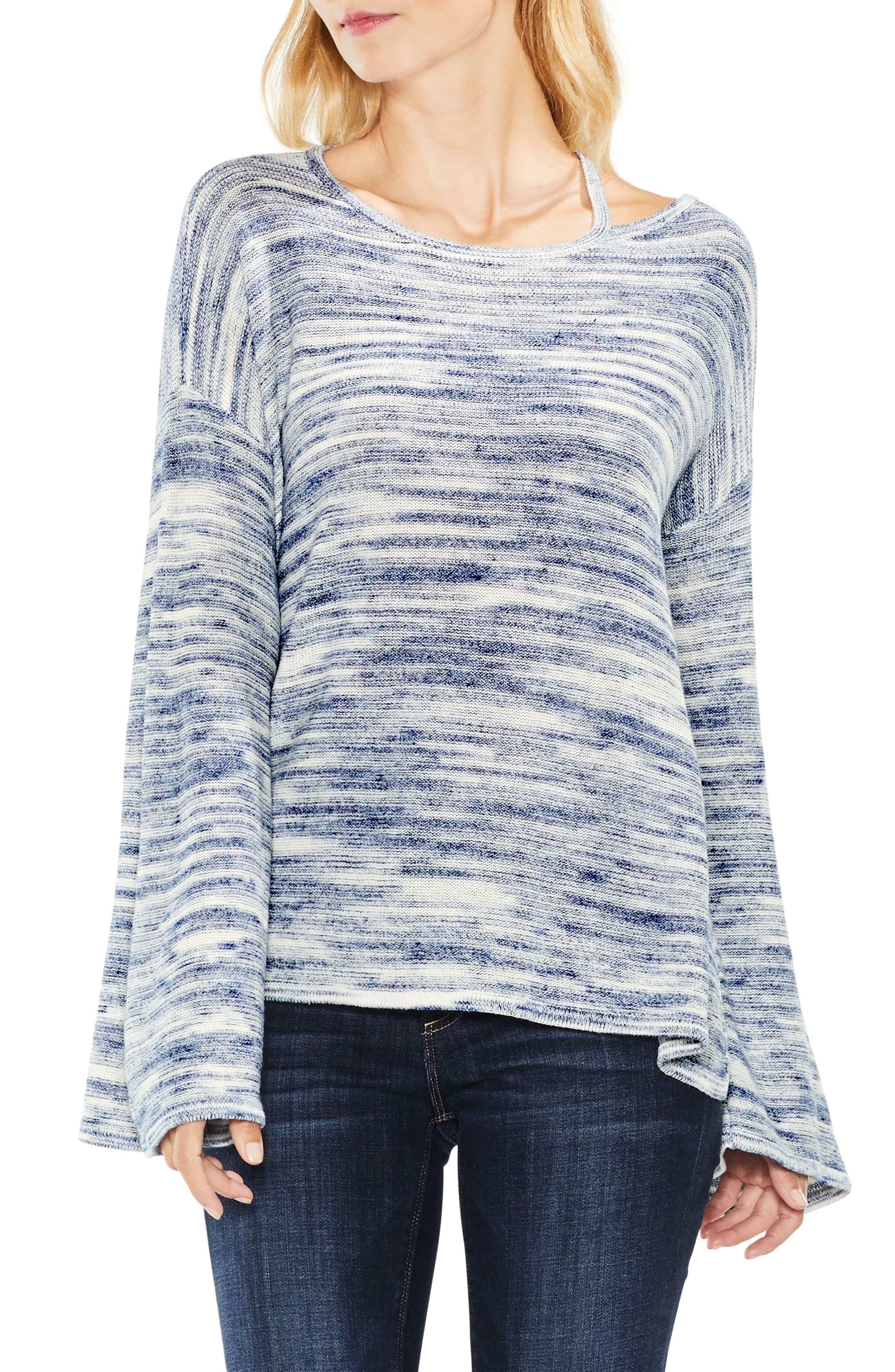 Drop Shoulder Space Dye Sweater,                         Main,                         color,
