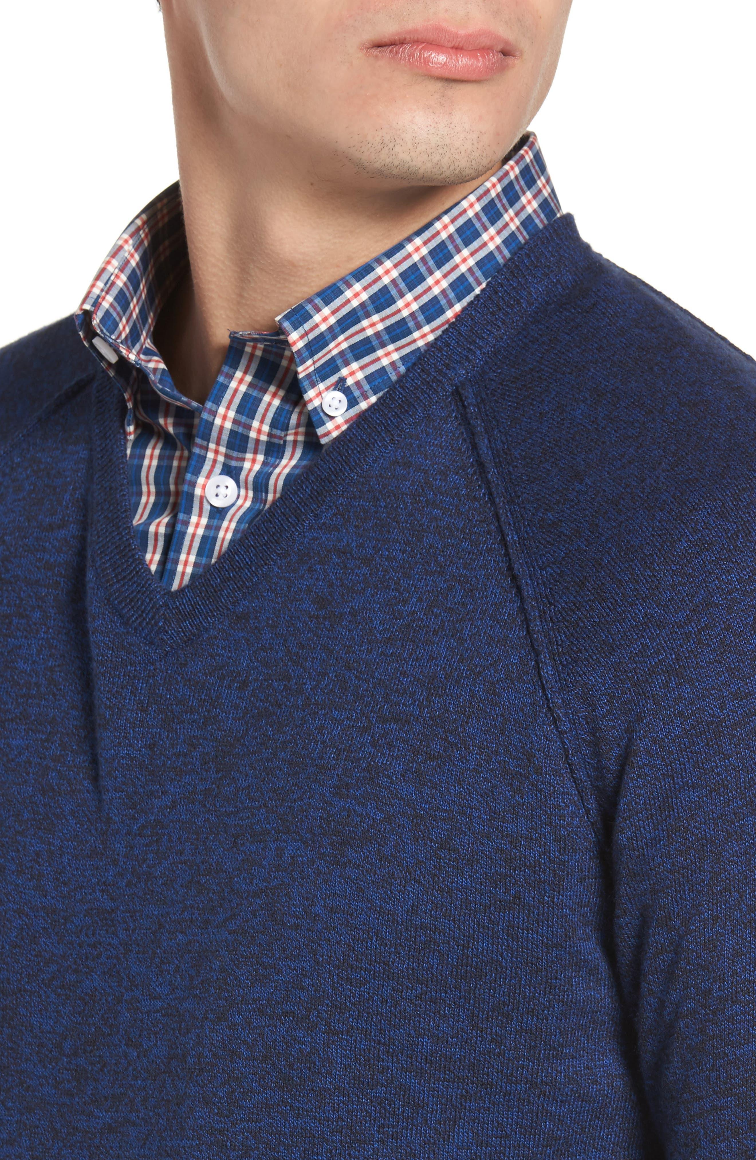 Saddle Shoulder Cotton & Cashmere V-Neck Sweater,                             Alternate thumbnail 30, color,