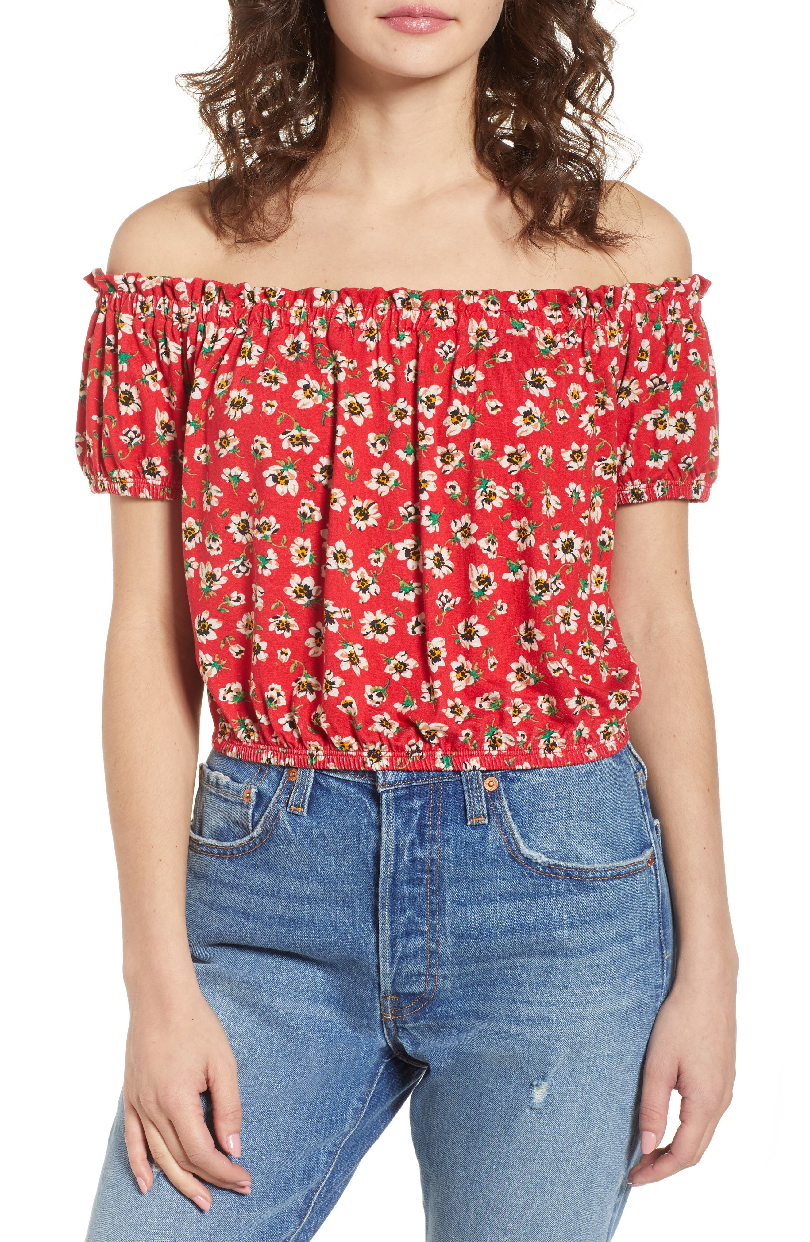 Floral Off the Shoulder Top,                         Main,                         color, 600