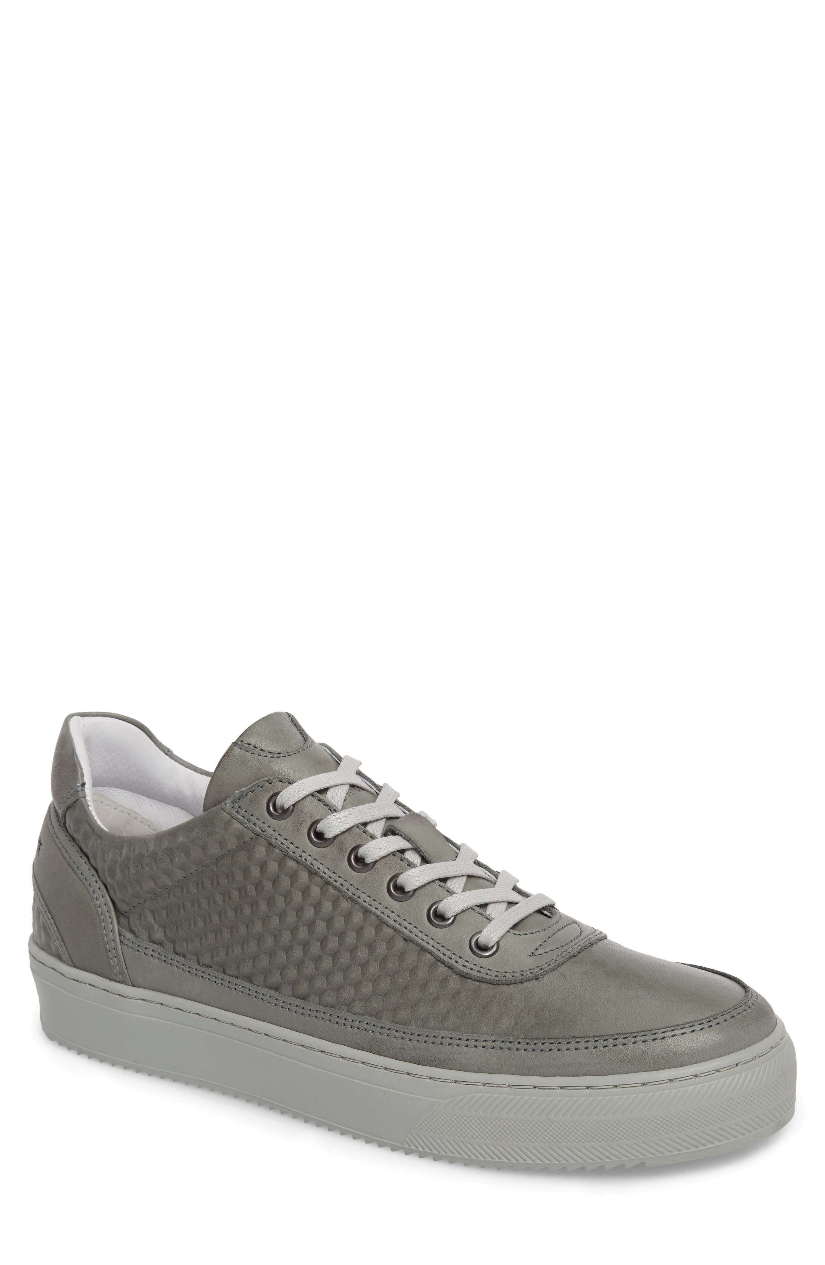 Montreal Textured Low Top Sneaker,                             Main thumbnail 1, color,                             GREY LEATHER
