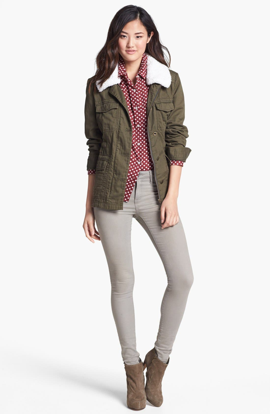 Removable Faux Shearling Collar Utility Jacket,                             Alternate thumbnail 5, color,                             300