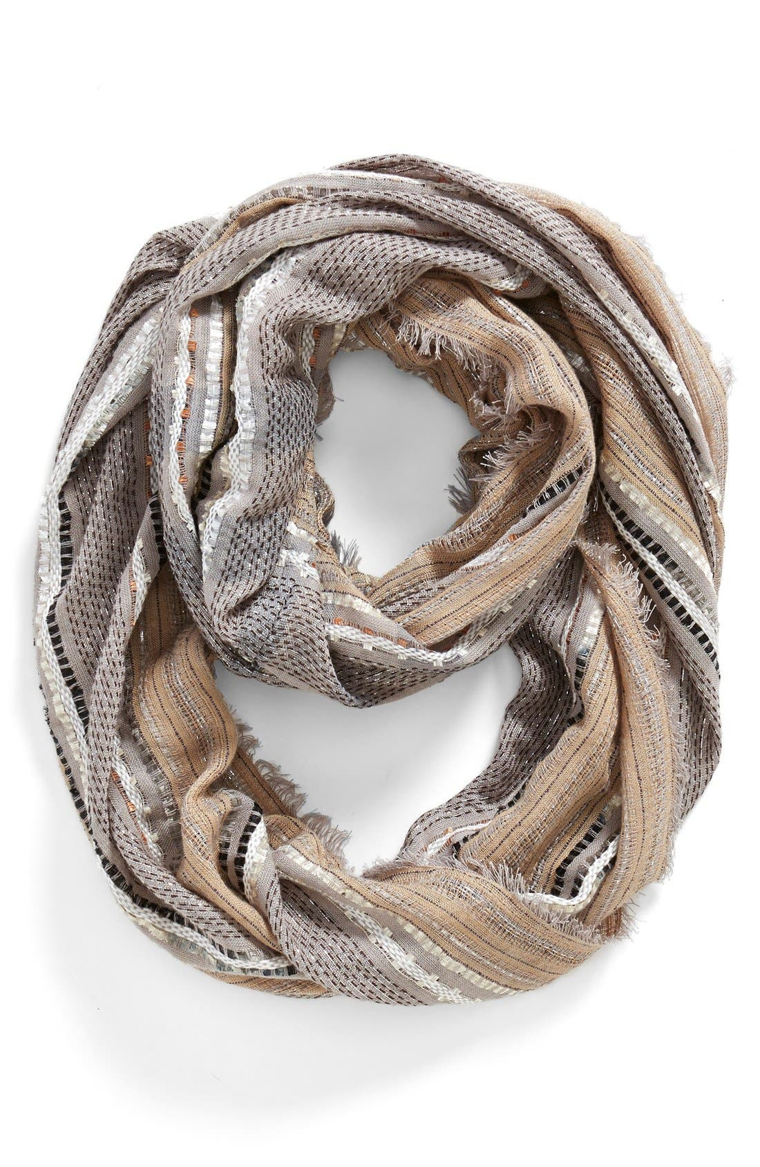 Metallic Plaid Infinity Scarf,                         Main,                         color, 250