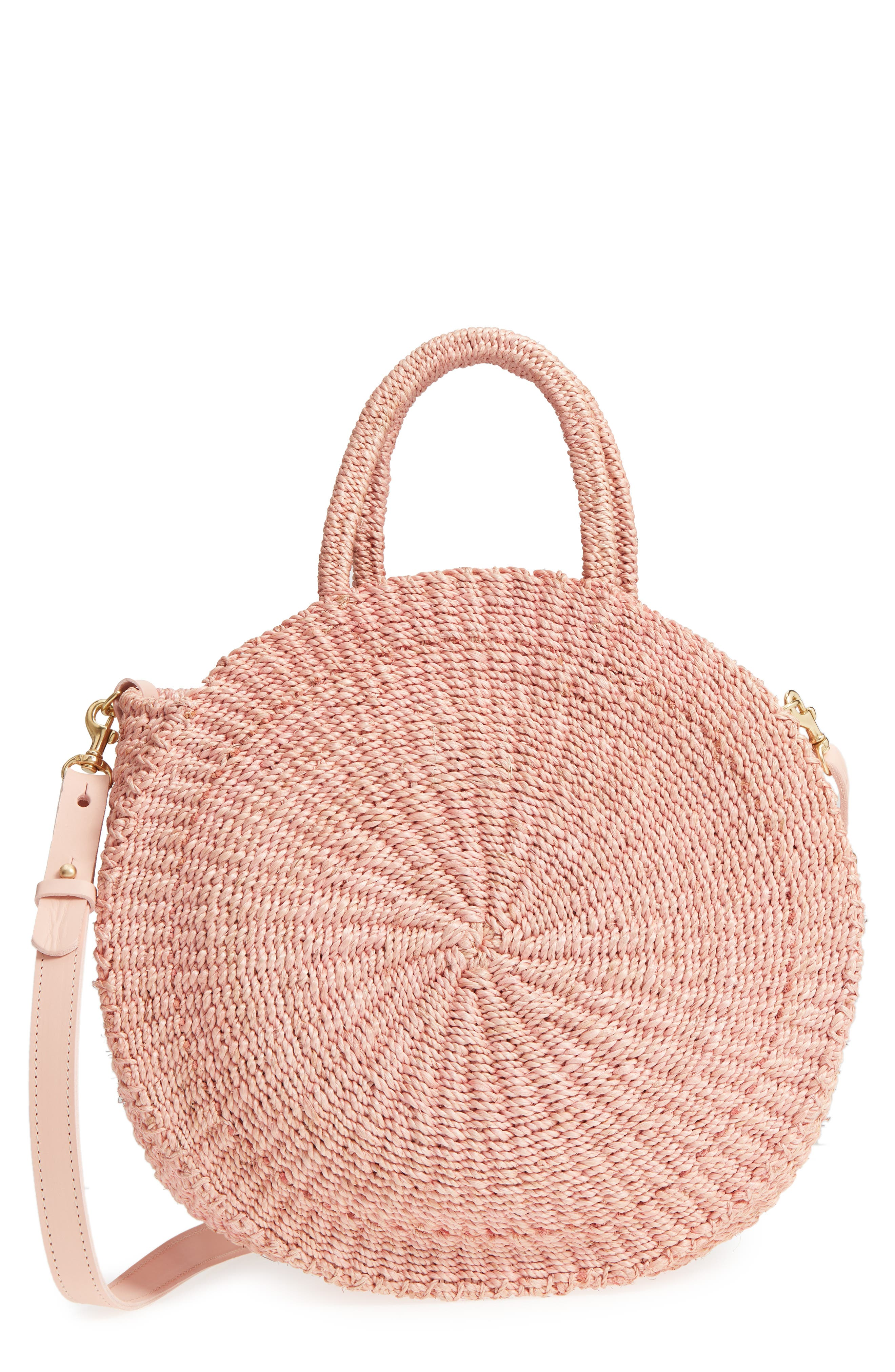 Clare V ALICE WOVEN SISAL STRAW BAG - PINK