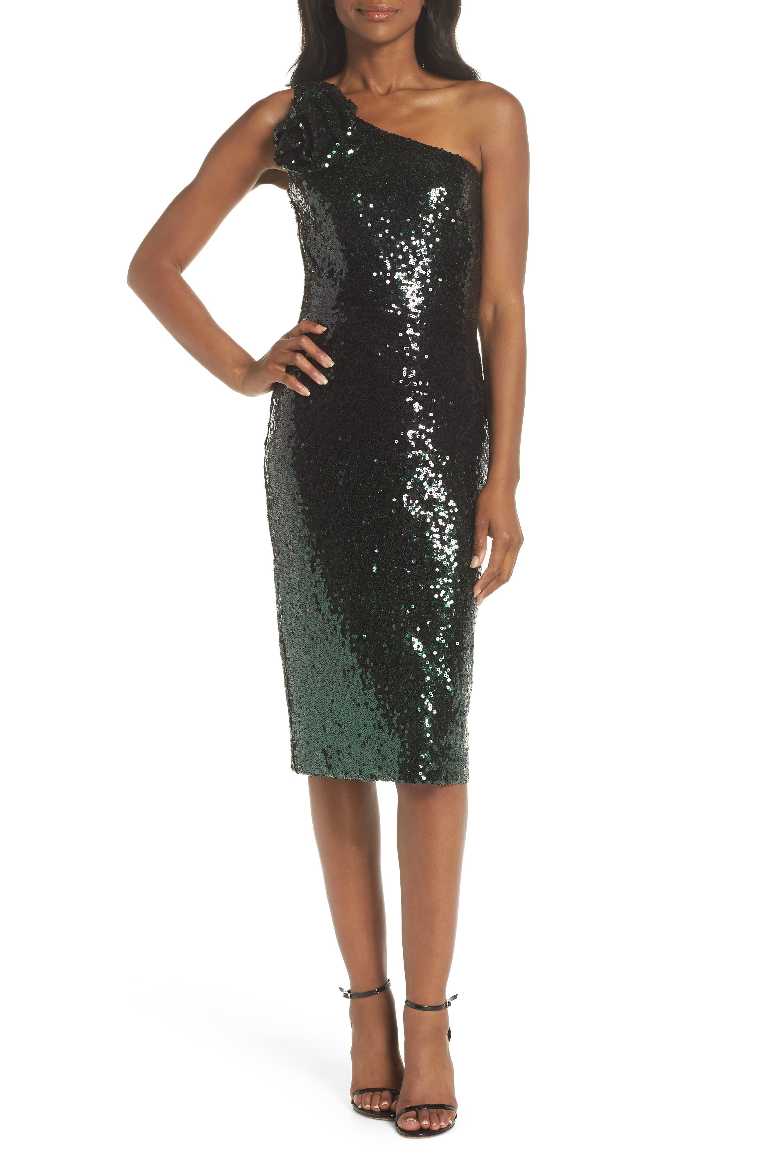 Vince Camuto One-Shoulder Midi Dress, Green