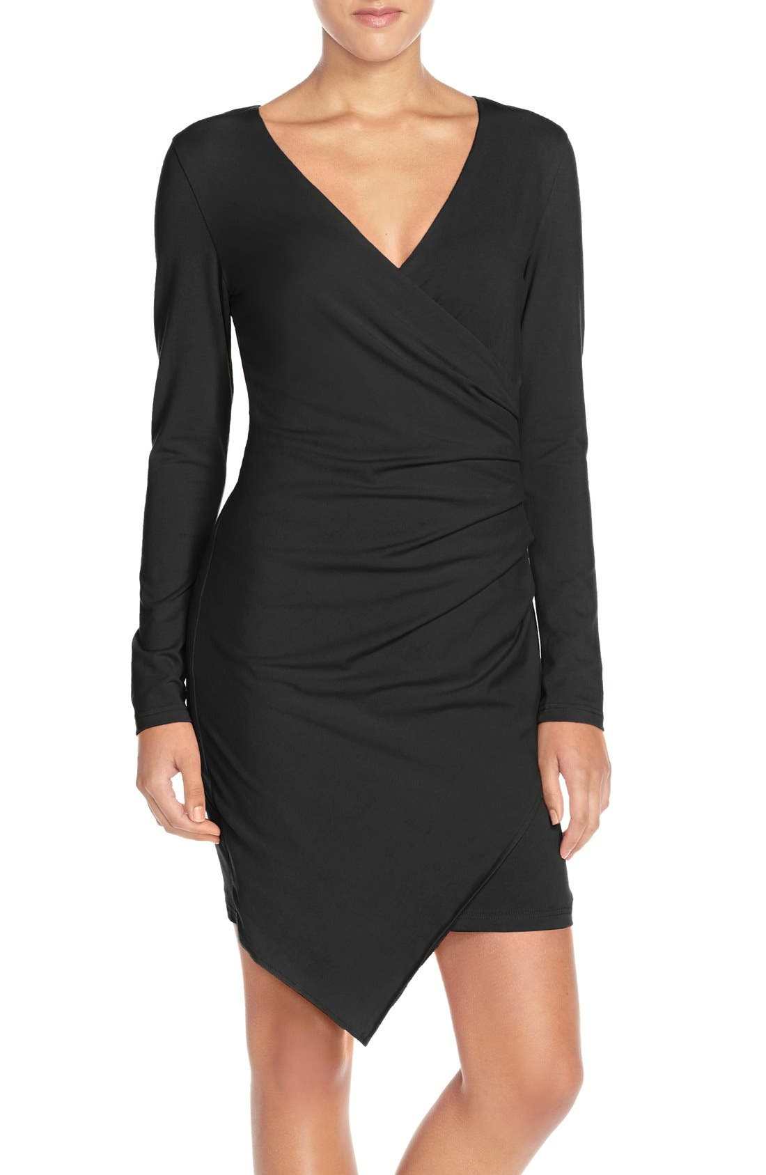 Ruched Jersey Sheath Dress,                             Main thumbnail 1, color,                             BLACK