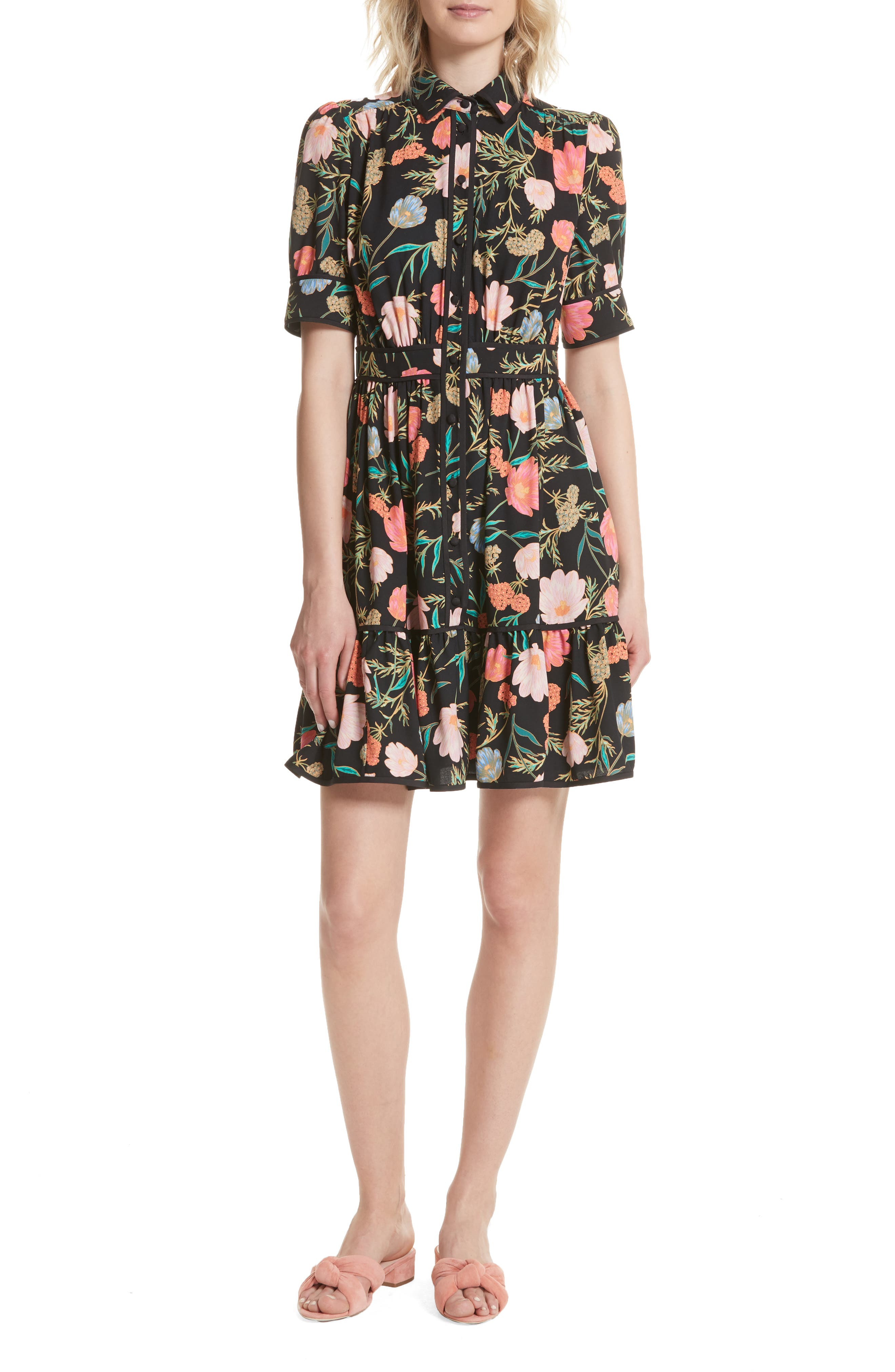 blossom print fluid shirtdress,                         Main,                         color, 001