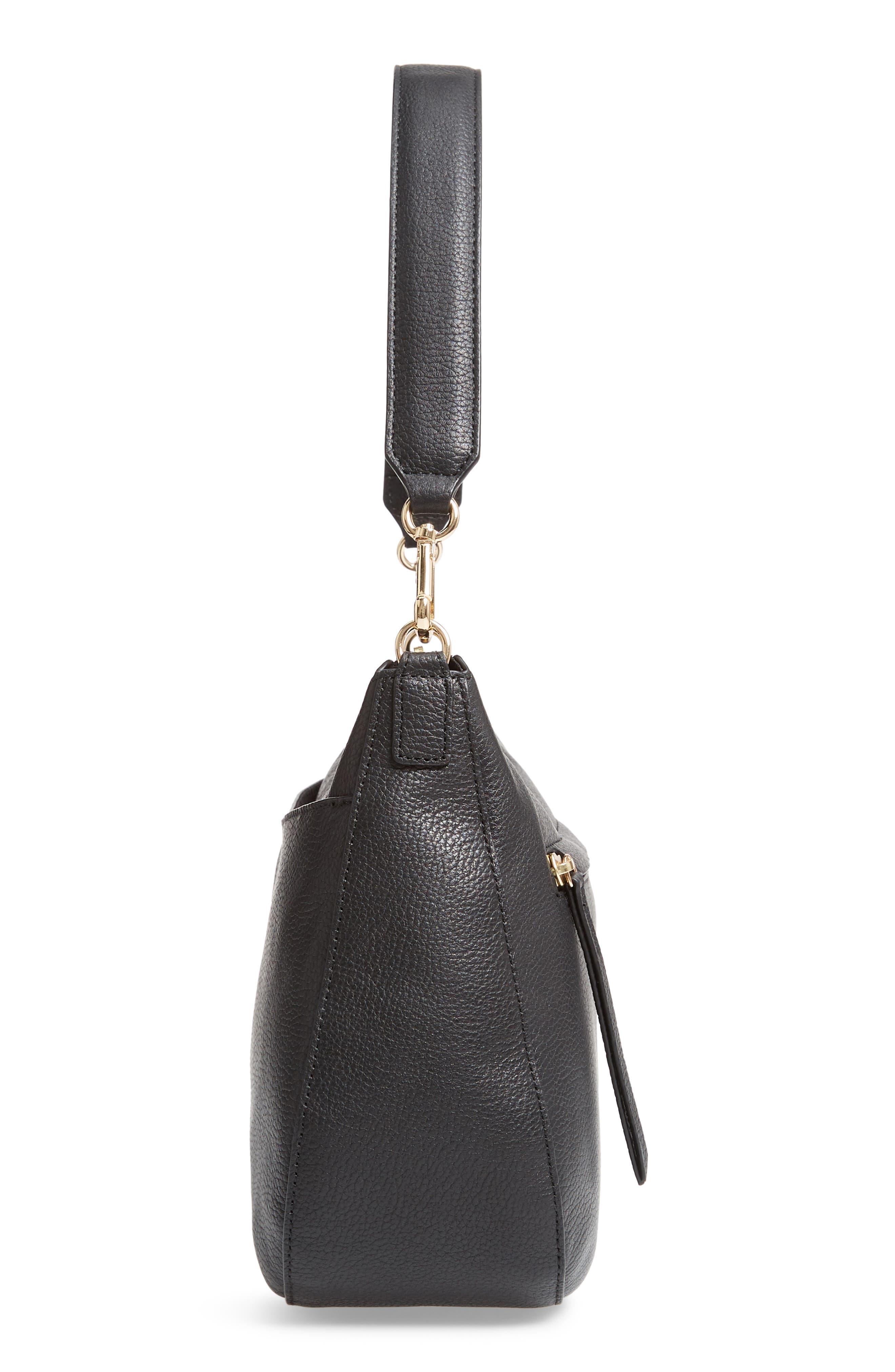 Finn Convertible Leather Hobo,                             Alternate thumbnail 6, color,                             BLACK