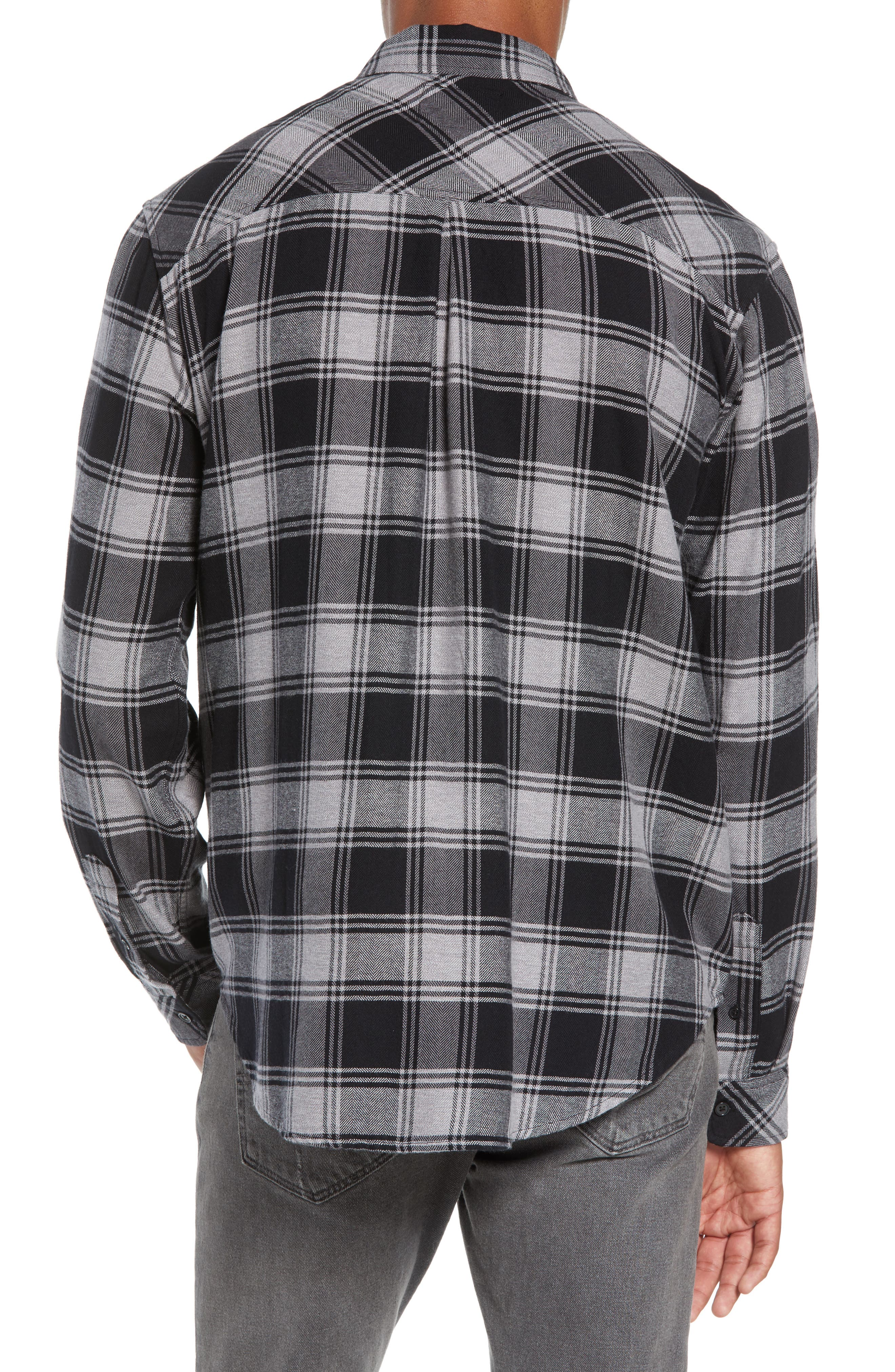 Lennox Slim Fit Plaid Sport Shirt,                             Alternate thumbnail 3, color,                             BLACK GREY