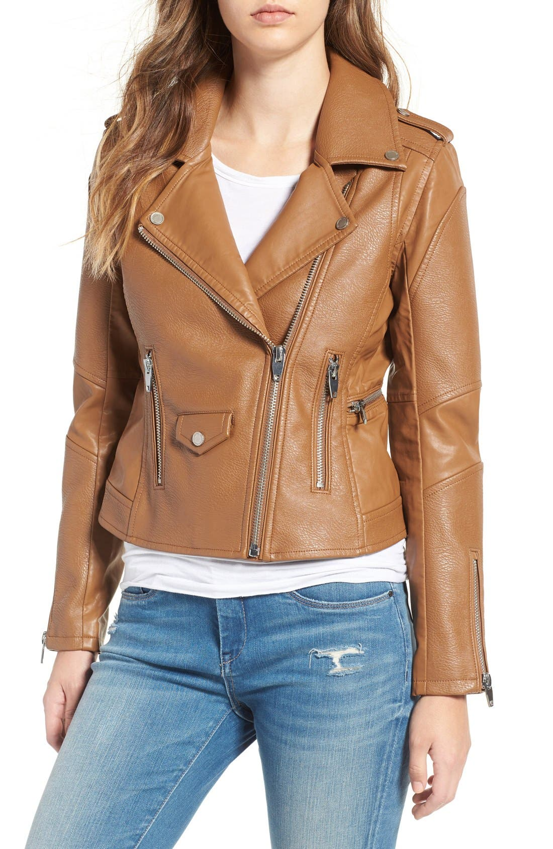 'Easy Rider' Faux Leather Moto Jacket,                             Alternate thumbnail 22, color,