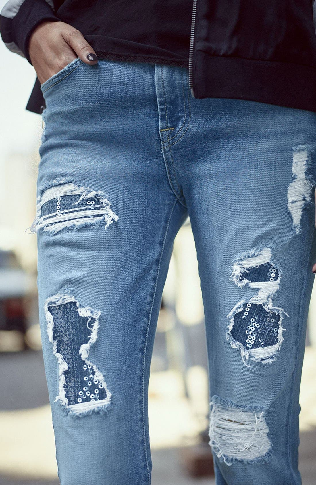 Embellished & Ripped Ankle Skinny Jeans,                             Alternate thumbnail 8, color,                             405