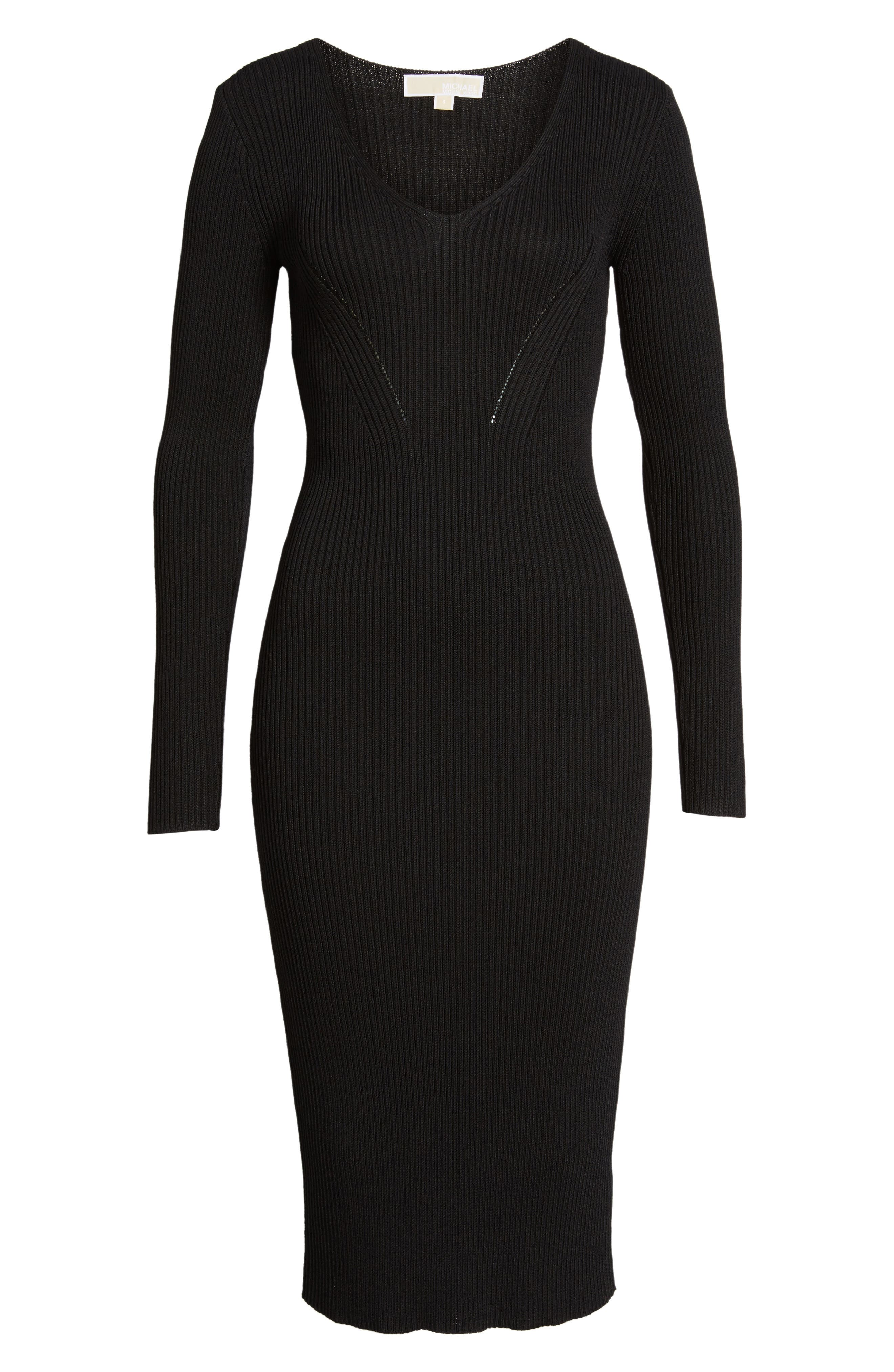 Ribbed Sweater Dress,                             Alternate thumbnail 6, color,                             001