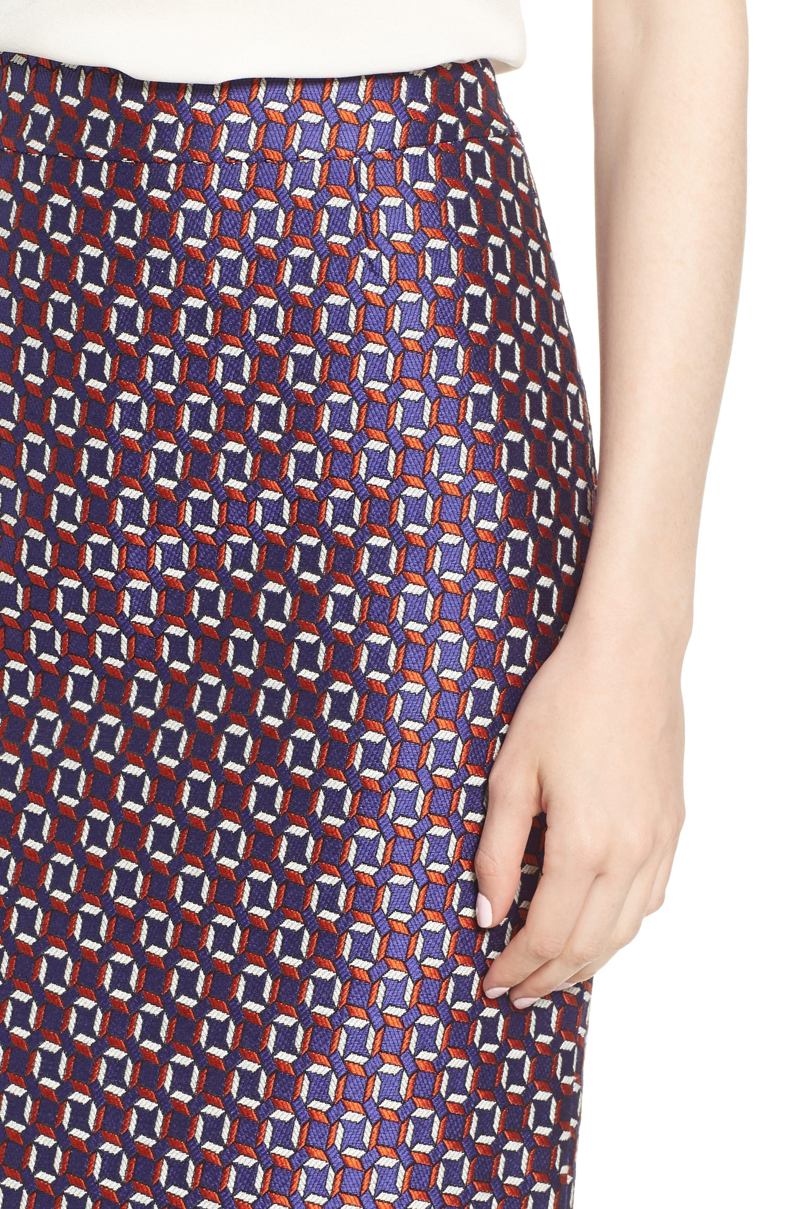 Varines Jacquard Pencil Skirt,                             Alternate thumbnail 4, color,                             575