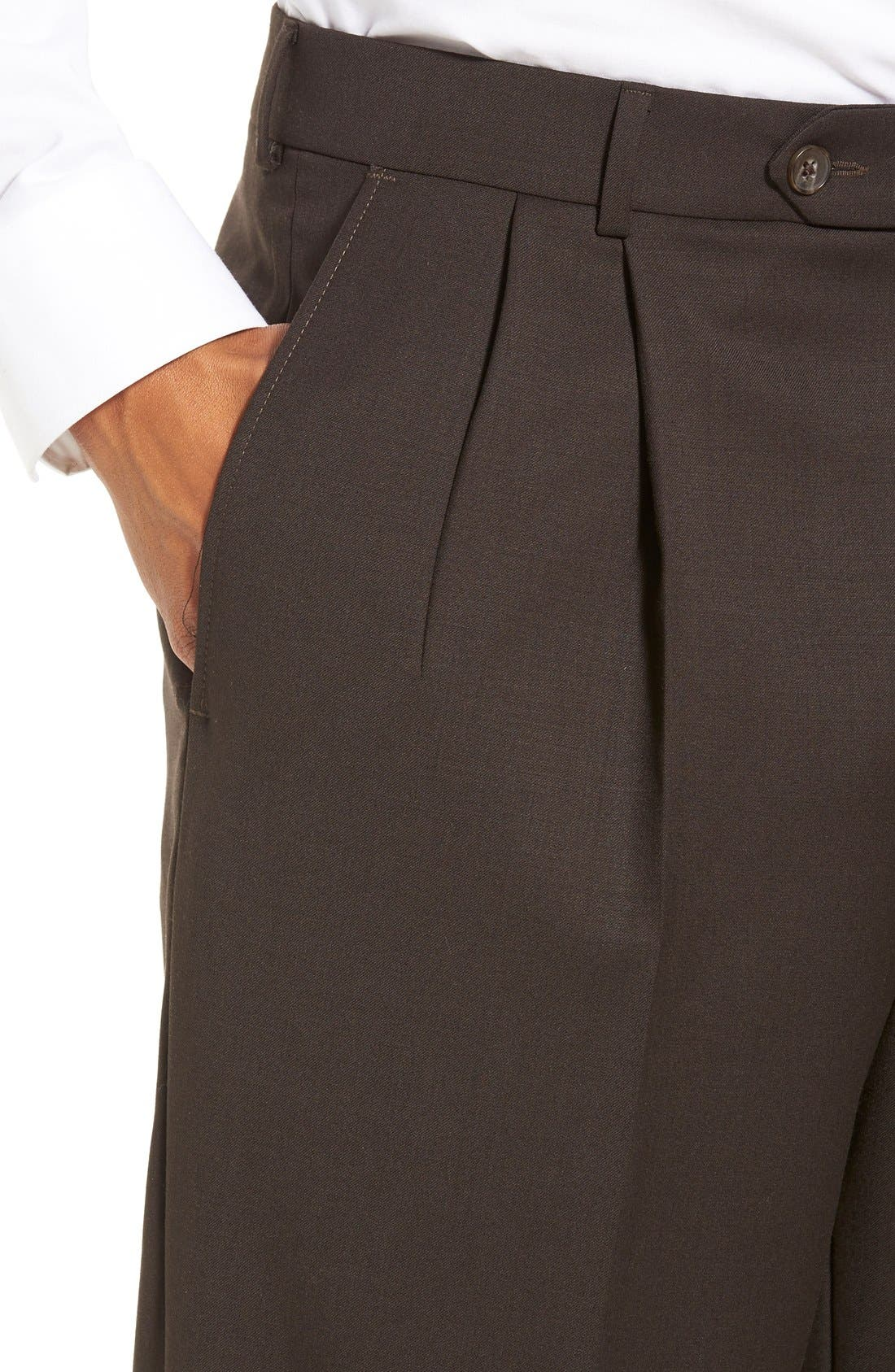 Pleated Solid Wool Trousers,                             Alternate thumbnail 46, color,