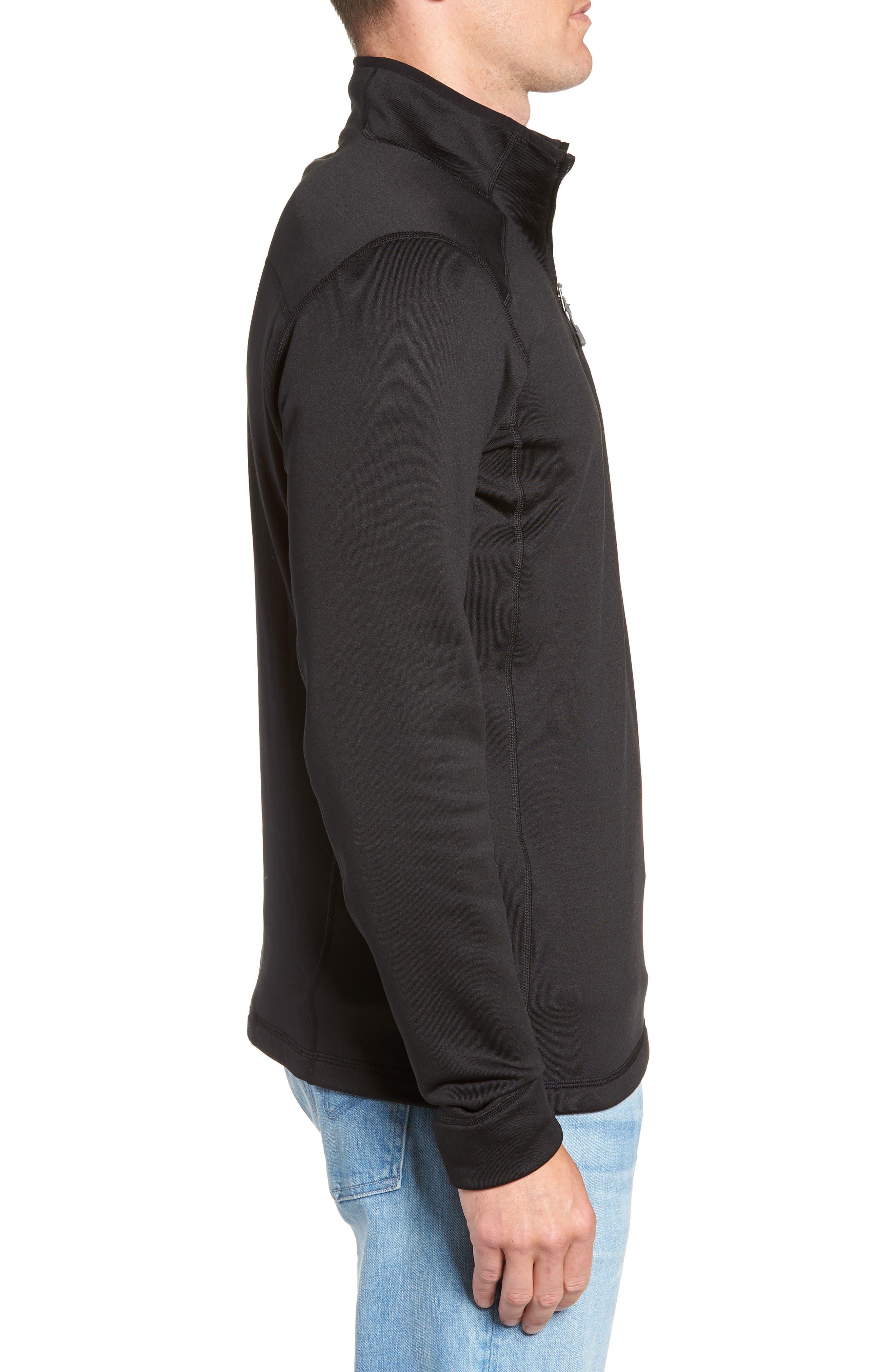 Crosstrek Quarter Zip Fleece Pullover,                             Alternate thumbnail 3, color,                             BLACK