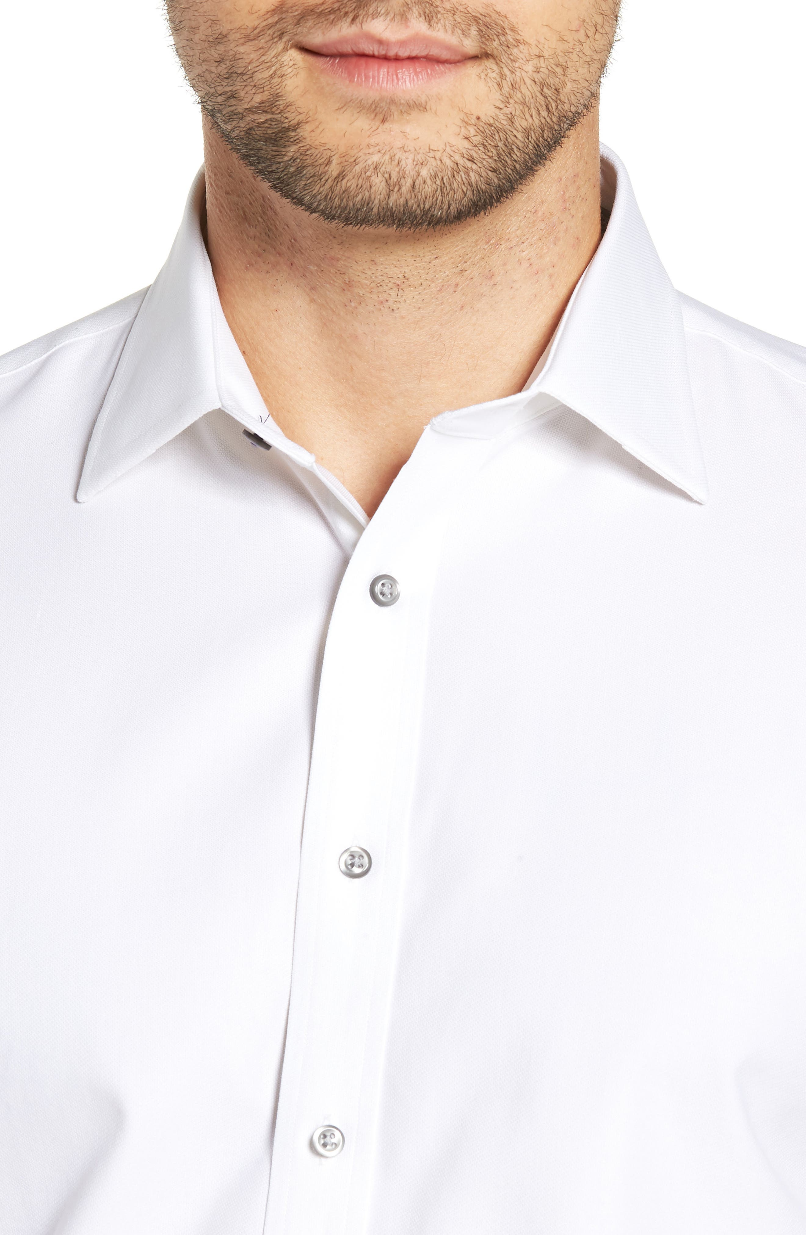 Tech-Smart Traditional Fit Stretch Solid Dress Shirt,                             Alternate thumbnail 2, color,                             WHITE
